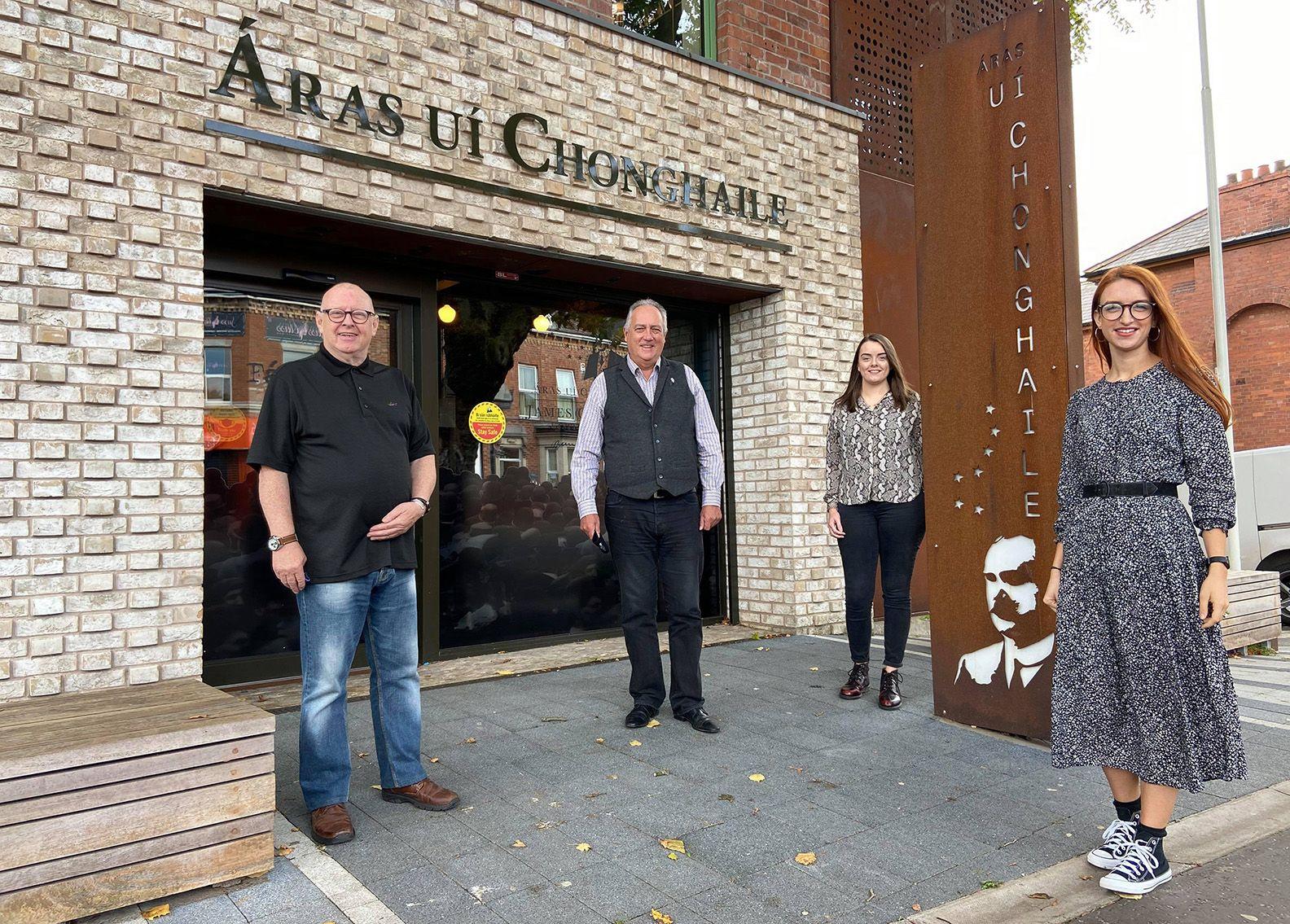 FÁILTE: Joe Austin, Tour Guide, Seánna Walsh, Centre Manager, Eimear Hargey, Heritage Officer, and Clíodhna Nic Bhranair of Áras Uí Chonghaile