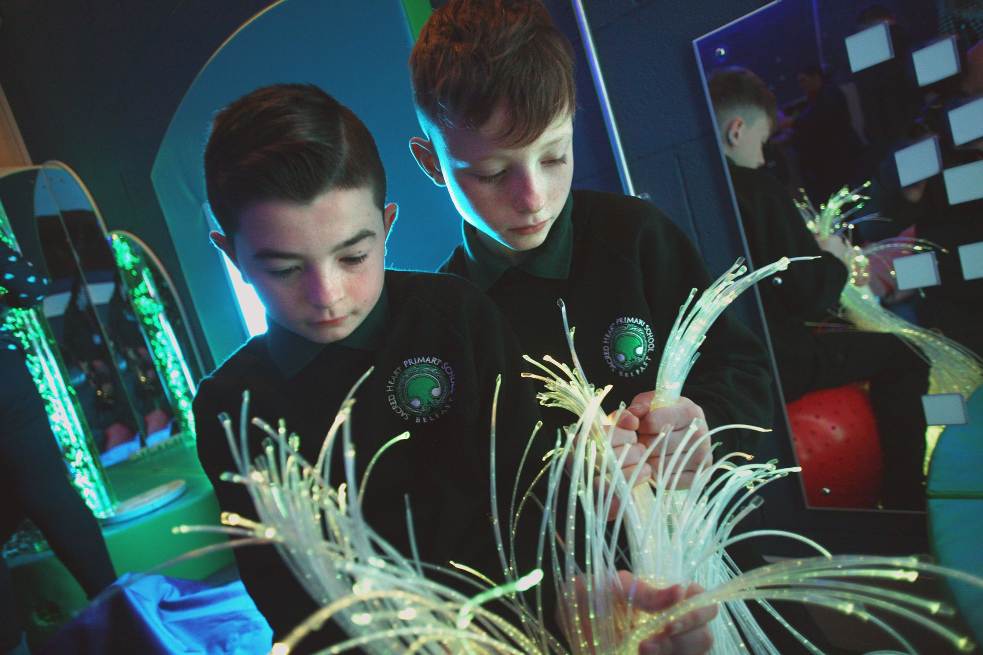 EXPLORING: Sacred Heart Boys PS pupils Patrick Walsh and Ciaran McGarry in the school's Marie O'Neill sensory room