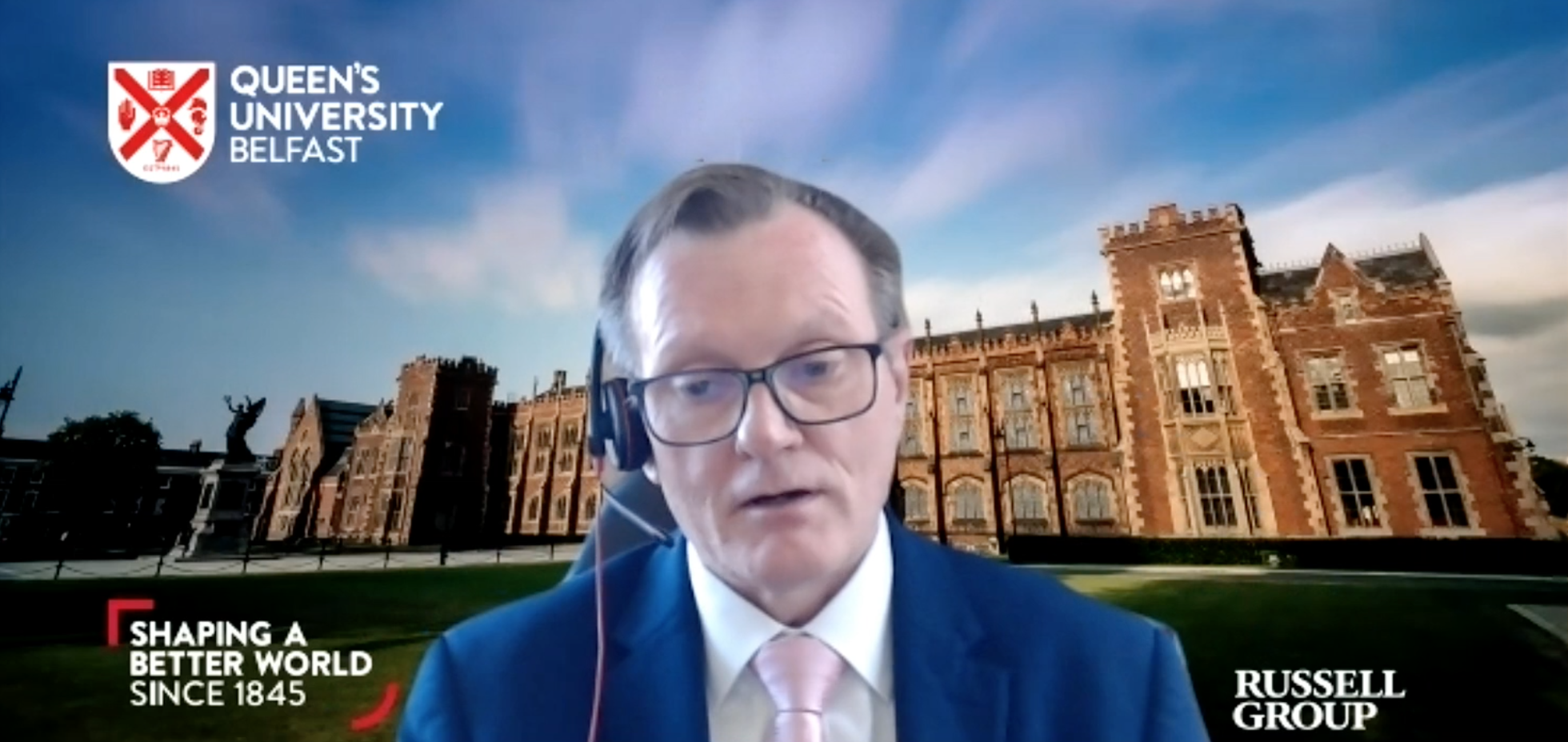 DISCUSSIONS STARTED WITH POLITICAL LEADERS ON NORTH-SOUTH EDUCATION LINKS: QUB Vice-Chancellor Ian Greer addressing the virtual Homecoming from his Queen\'s office