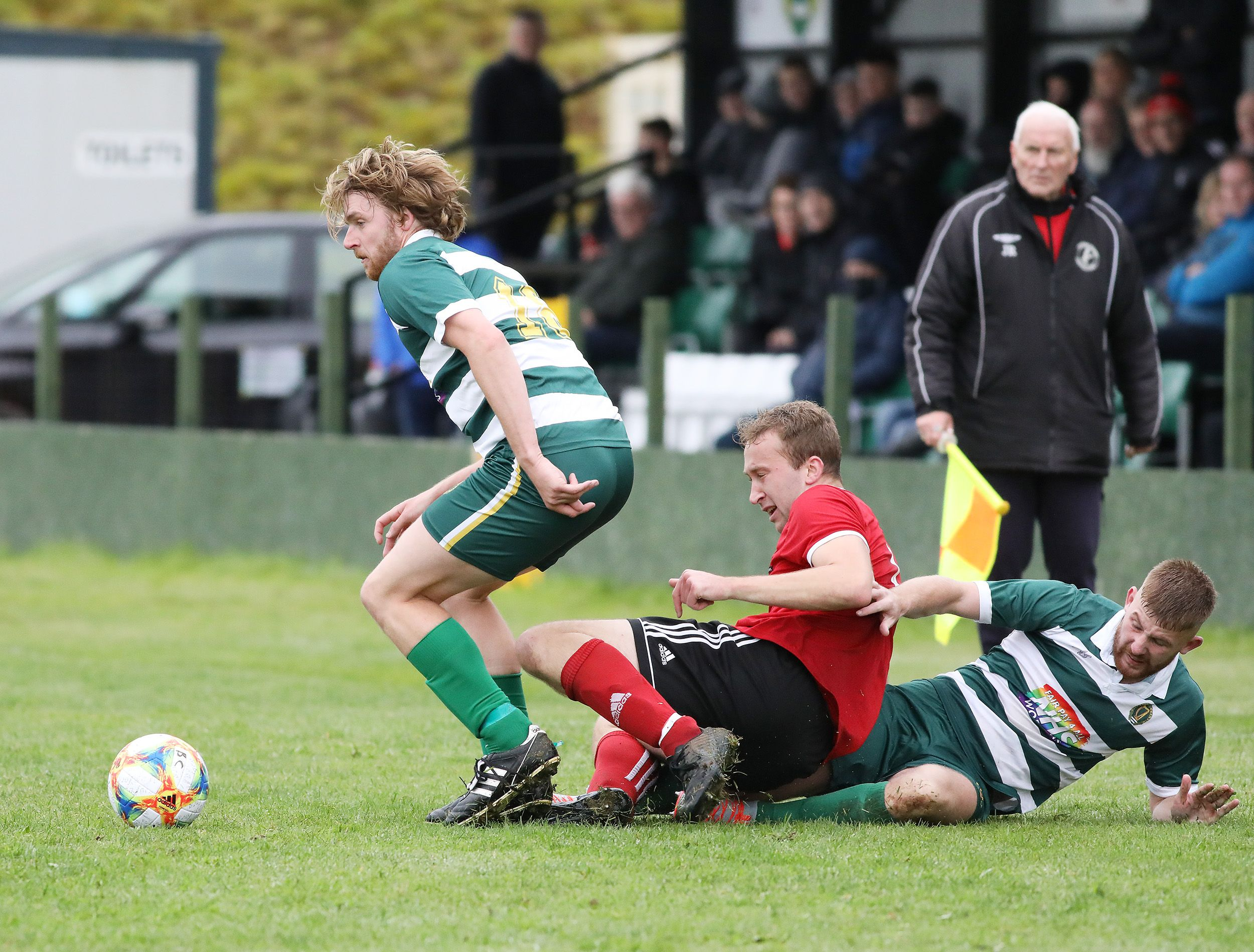 Stephen Beatty gets on the ball during Saturday\'s game