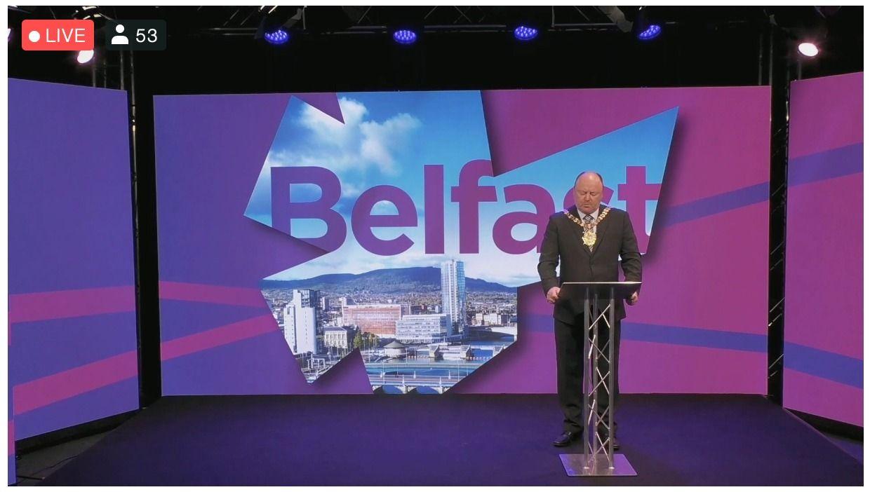 BRIDGE-BUILDING: Lord Mayor Frank McCoubrey addressing the seventh annual Belfast International Homecoming