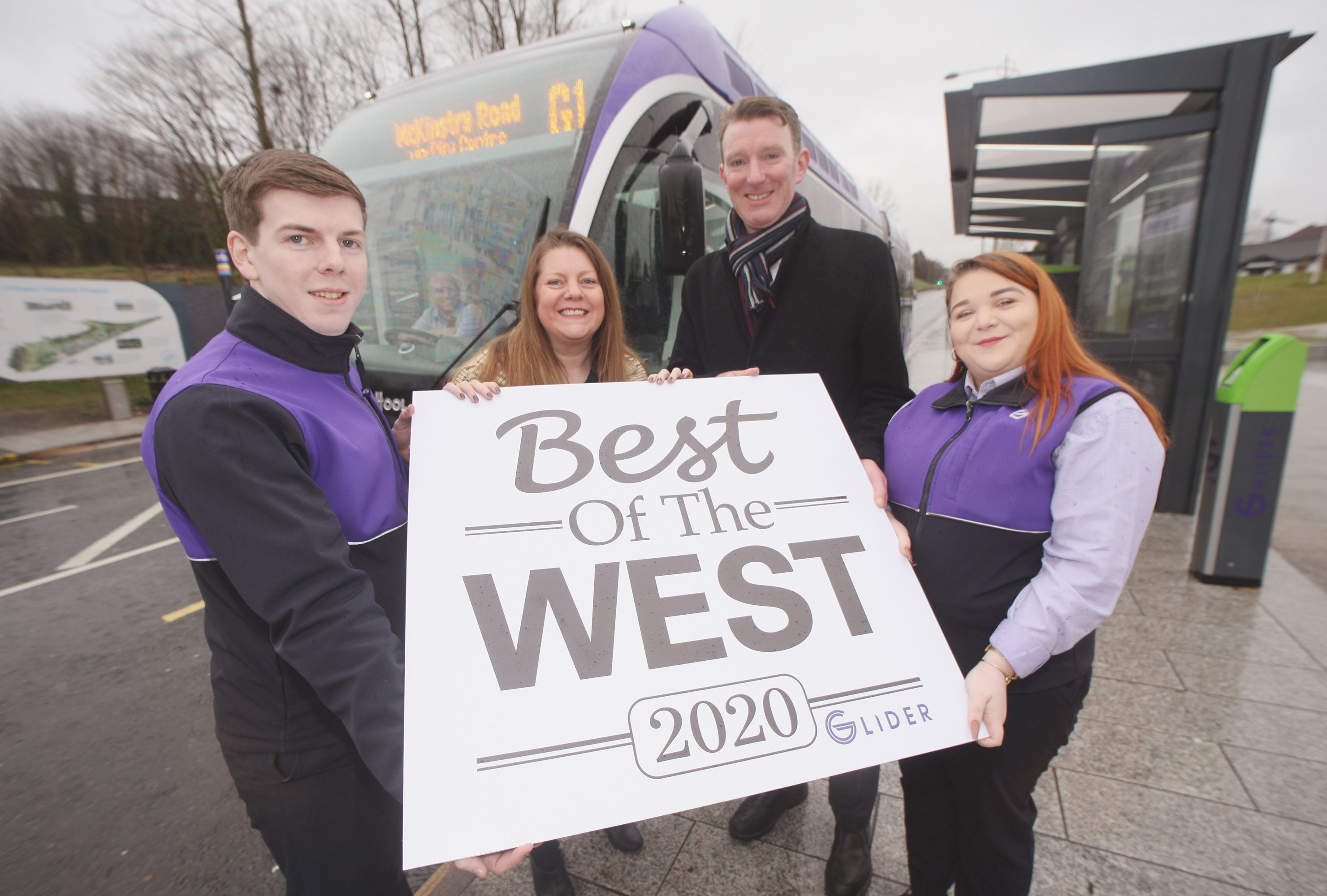 IN THE FAST LANE:Glider staff Daire and Ruairí with Damian Bannon from sponsor Translink, and Christina Sloan, Belfast Media Advertising Marketing Manager