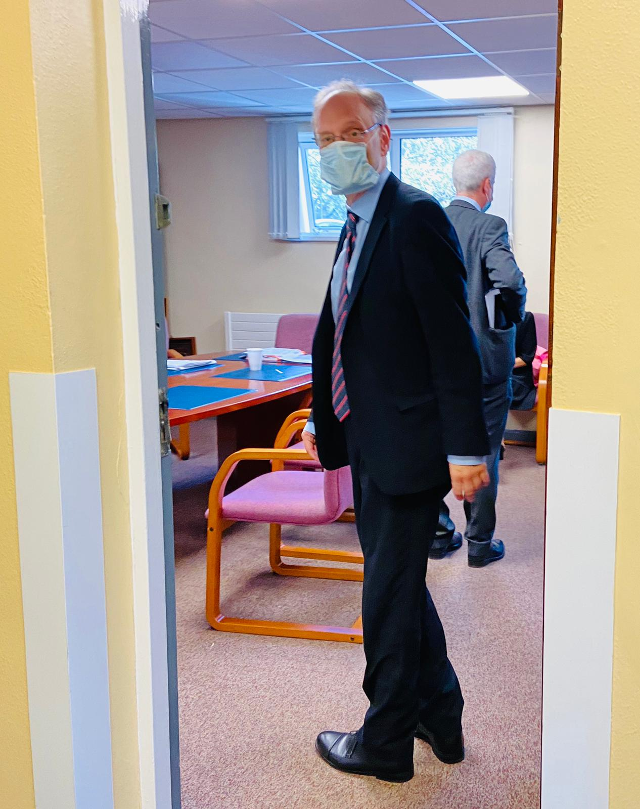 DISRUPTION: Education Minister Peter Weir during a visit to All Saints College