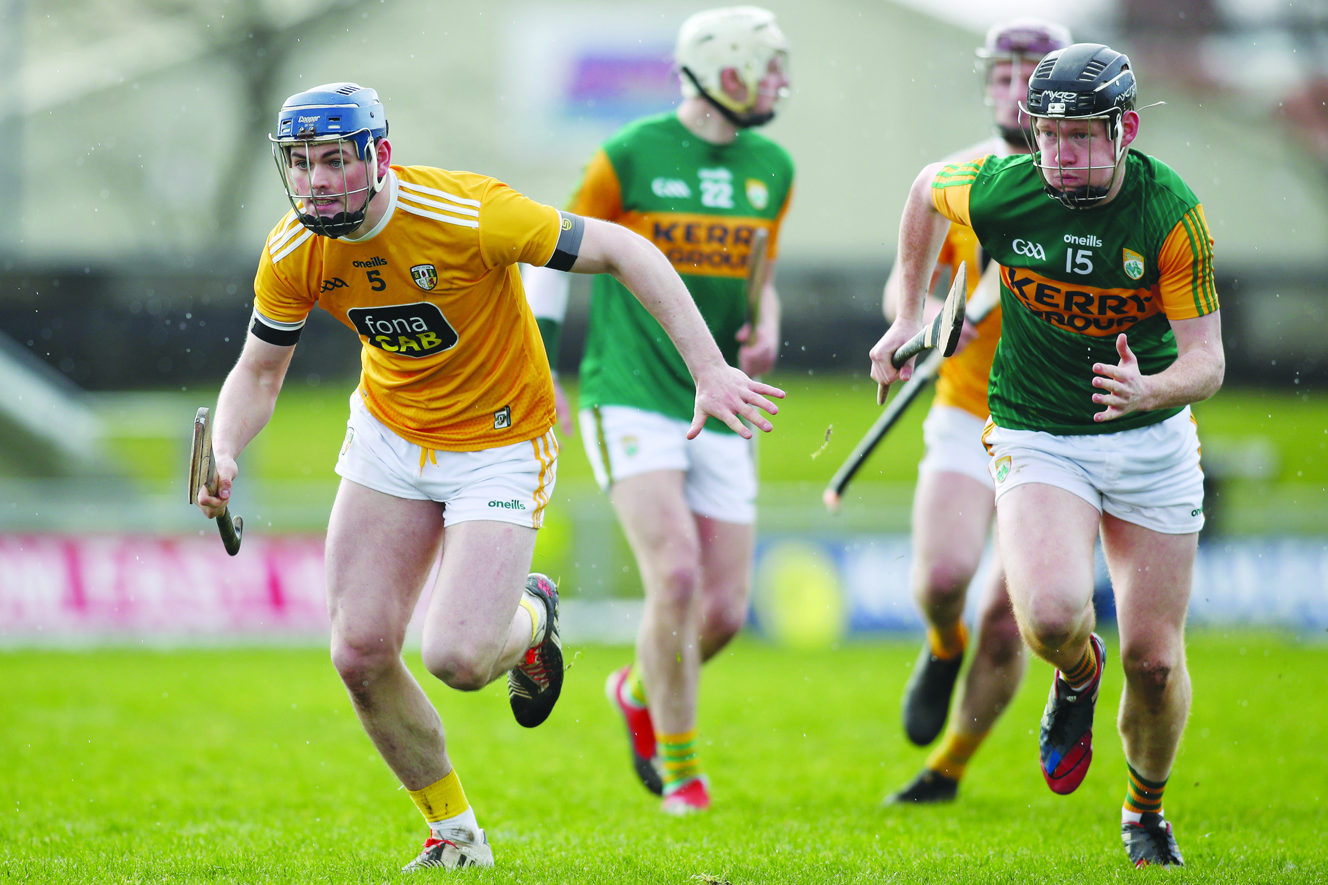 Gerard Walsh in action for Antrim during their win over Kerry in Tralee in February