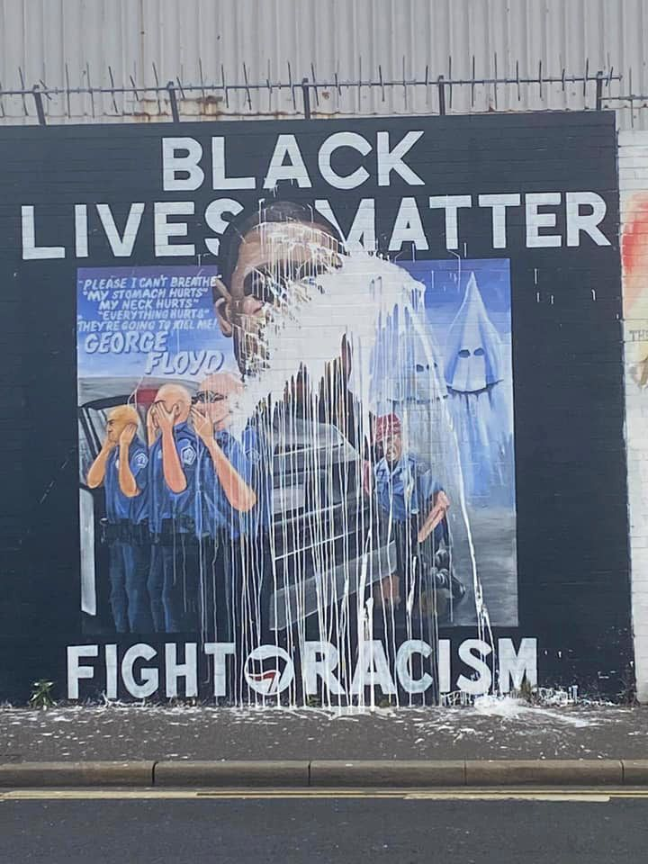 DEFACED: The George Floyd mural was attacked with paint