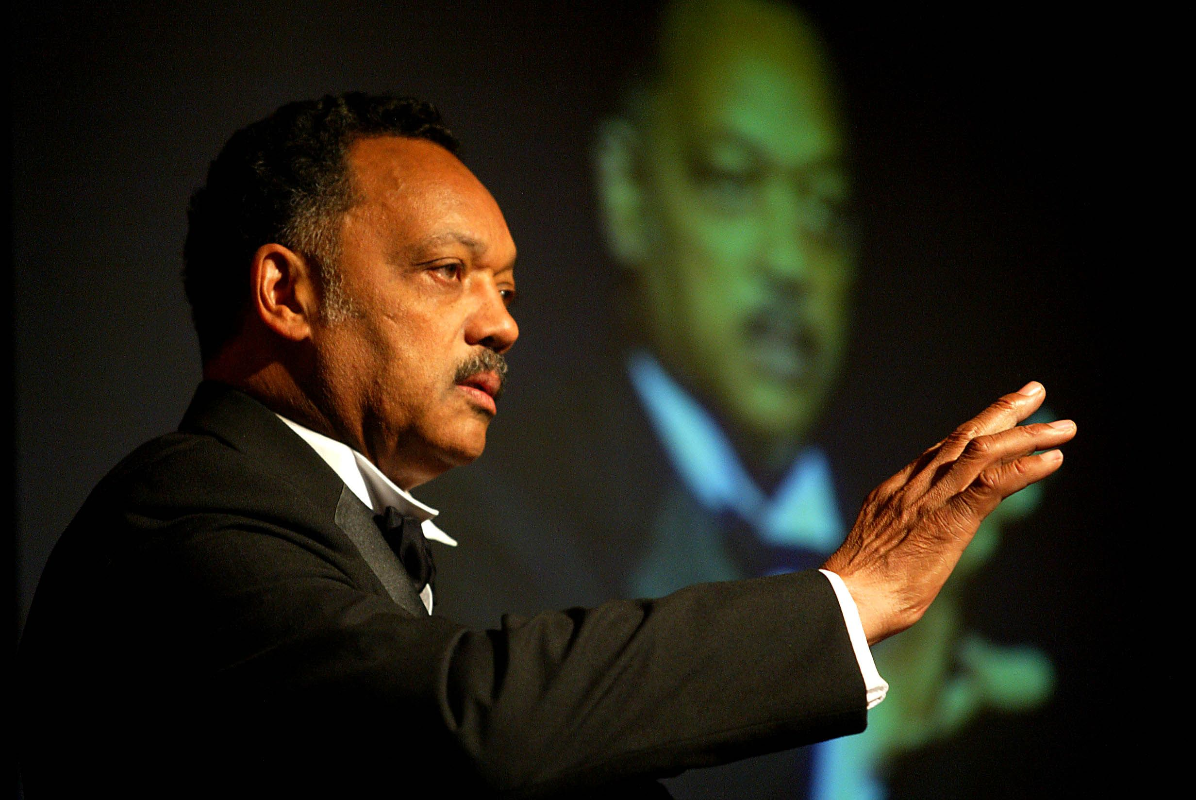 KEEP HOPE ALIVE: Rev Jesse Jackson addressing the 2004 Aisling Awards in the Europa Hotel