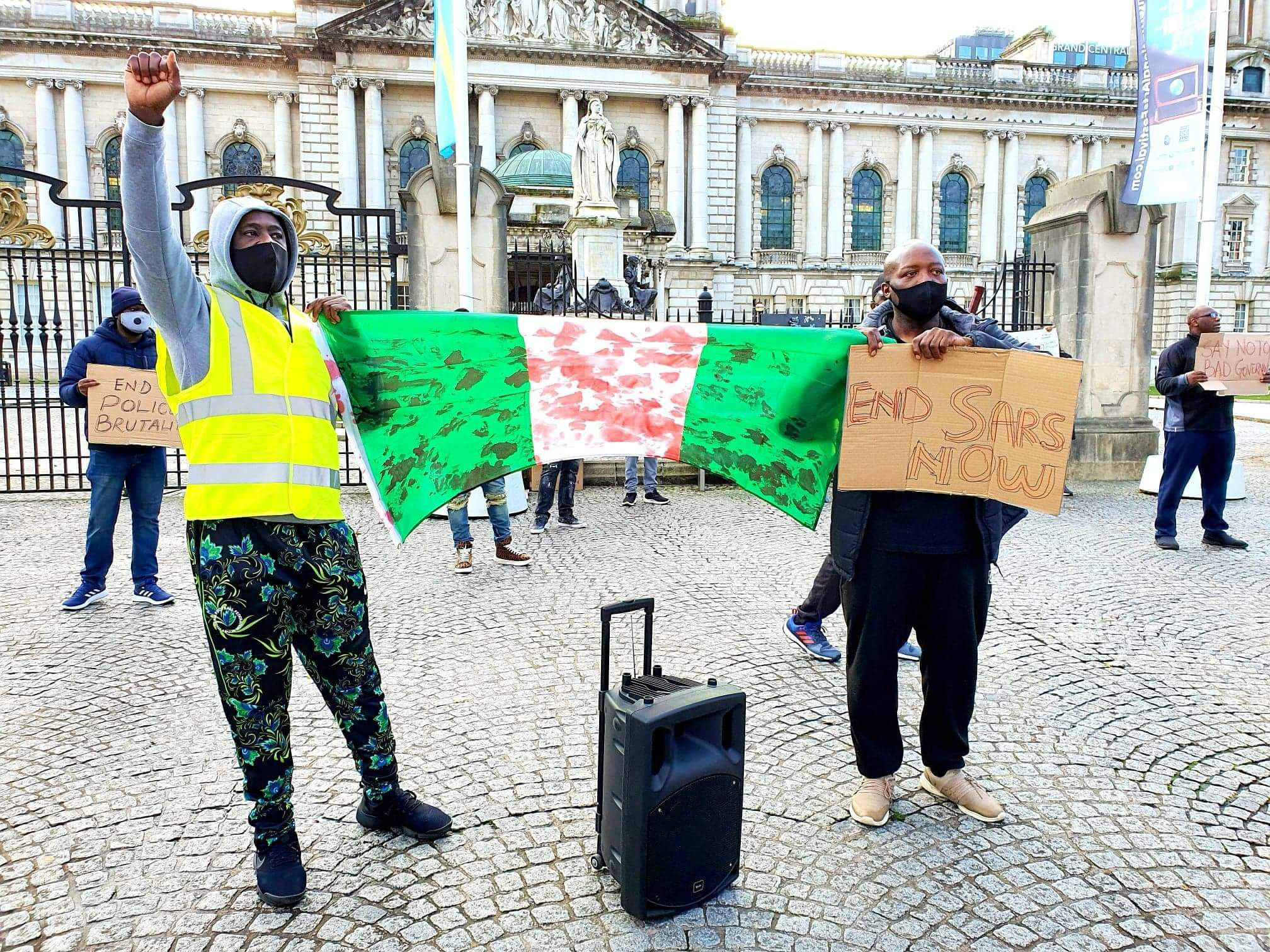 SOLIDARITY: Protesters gather at City Hall to raise their voices against brutal state crackdown on defenceless demonstrators in the Nigerian capital Lagos