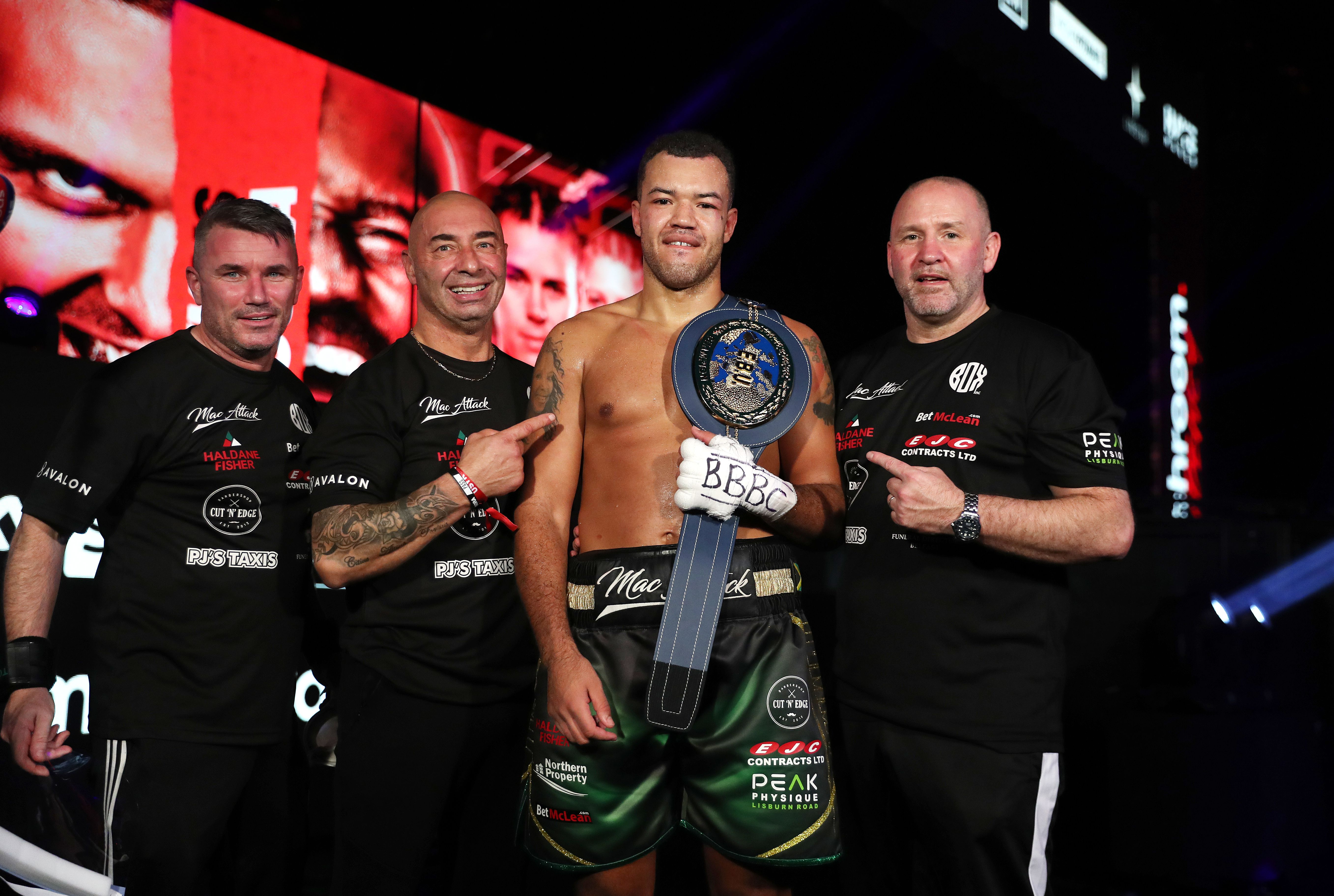 Tommy McCarthy with his team following his European cruiserweight title win against Bilal Laggoune