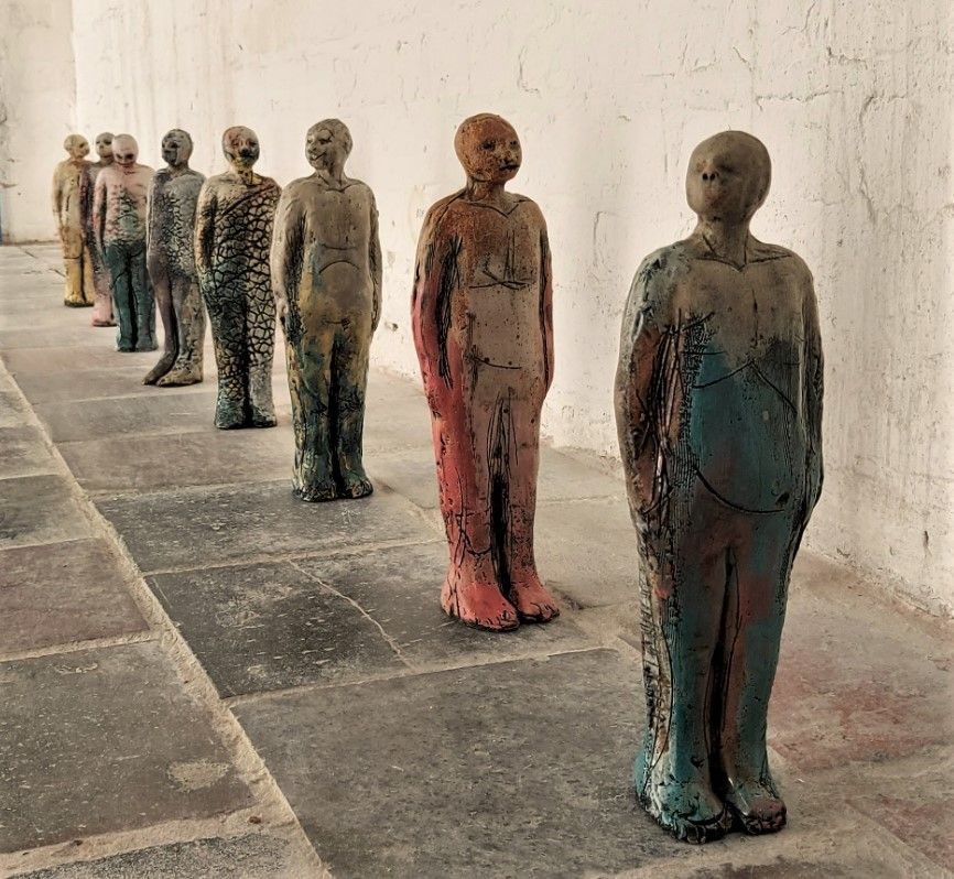 KEEP YOUR DISTANCE: Anne Donovan\'s jarring new statuettes in the Conway Mill
