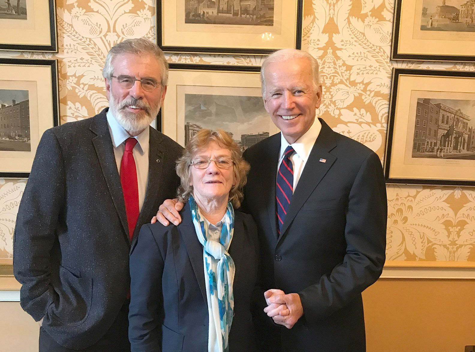 VICTOR:Gerry Adams with Joe Biden and Rita O'Hare – the President elect is a friend of Ireland