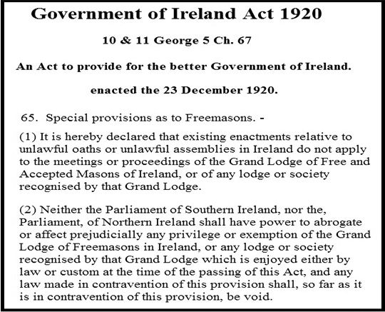 BIAS: The Government of Ireland Act of December 1920 put in place the conditions for the 'Orange State' with its elevation of unionism such as the paragraph above