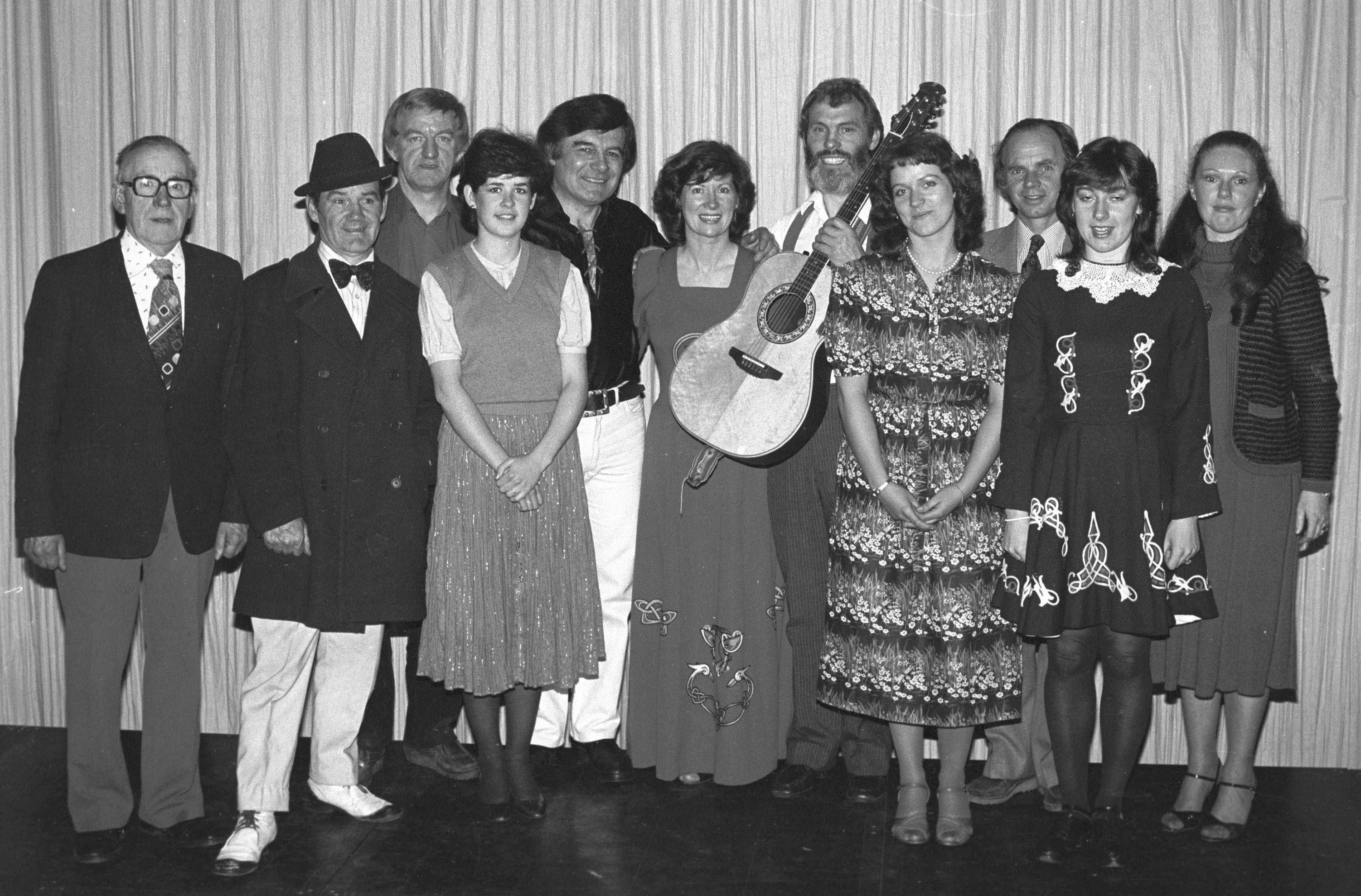 SHARE fundraiser in St Louise\'s with Jim Carty (MC), David Rowlands, Alice McEvoy (SHARE), Gerry Millar, Anne and Francie Brolly, Eileen Depo, Eileen Rocks, Susan Lavery. (A'town News, May 1982)