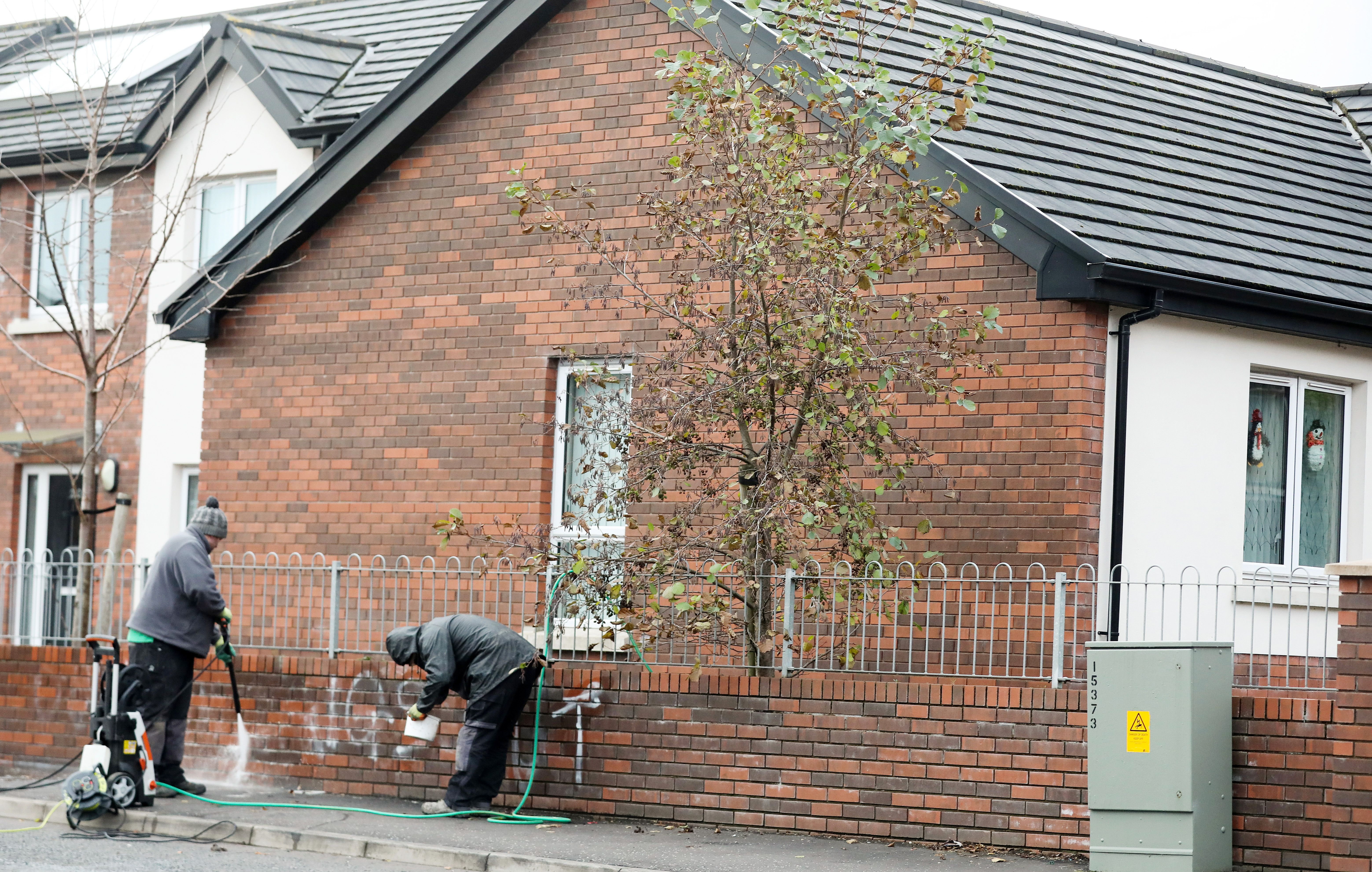 CLEAN-UP: The walls of a property in the Queen Victoria Gardens area of North Belfast