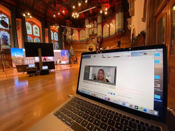 BEAMING: This year\'s Golden Bridges conference linking Northwest Ireland and Boston took place virtually from the splendid surrounds of the The Guildhall in Derry