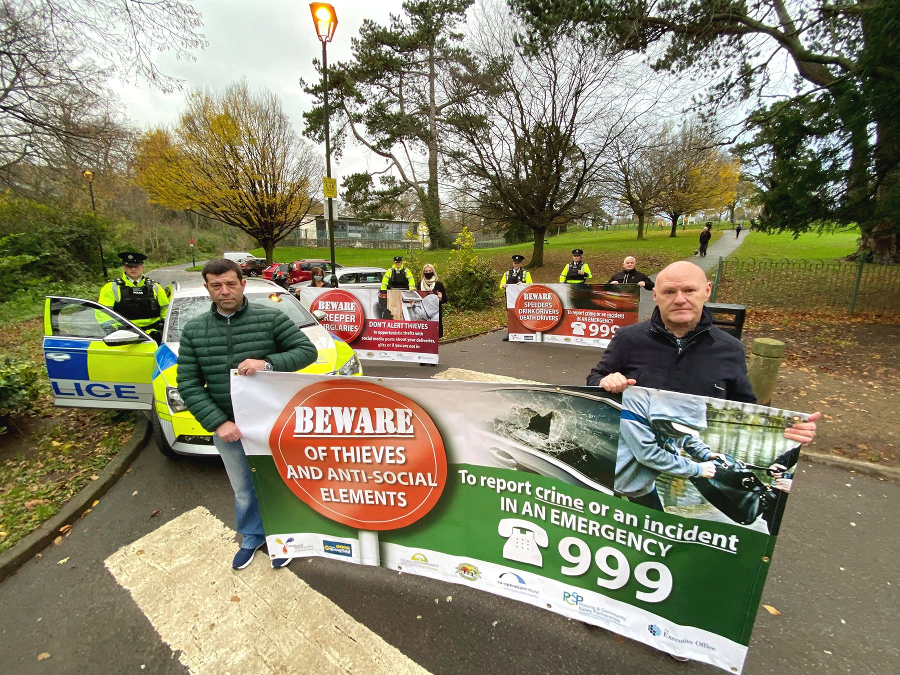BE ON YOUR GUARD:Paul Maskey MP and Sean Valente get the message across in the run-up to Christmas