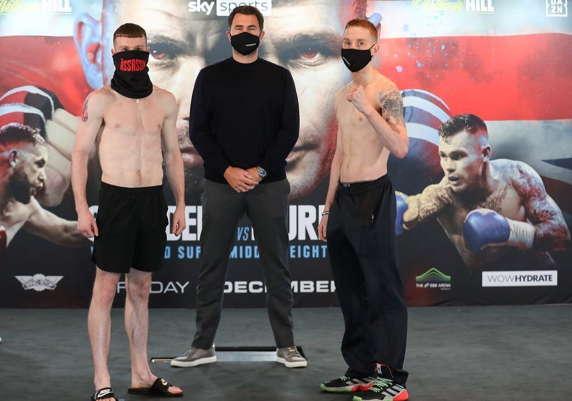 James Tennyson and Josh O\'Reilly with promoter Eddie Hearn at yesterday\'s weigh-in for their WBA lightweight eliminator in London tonight