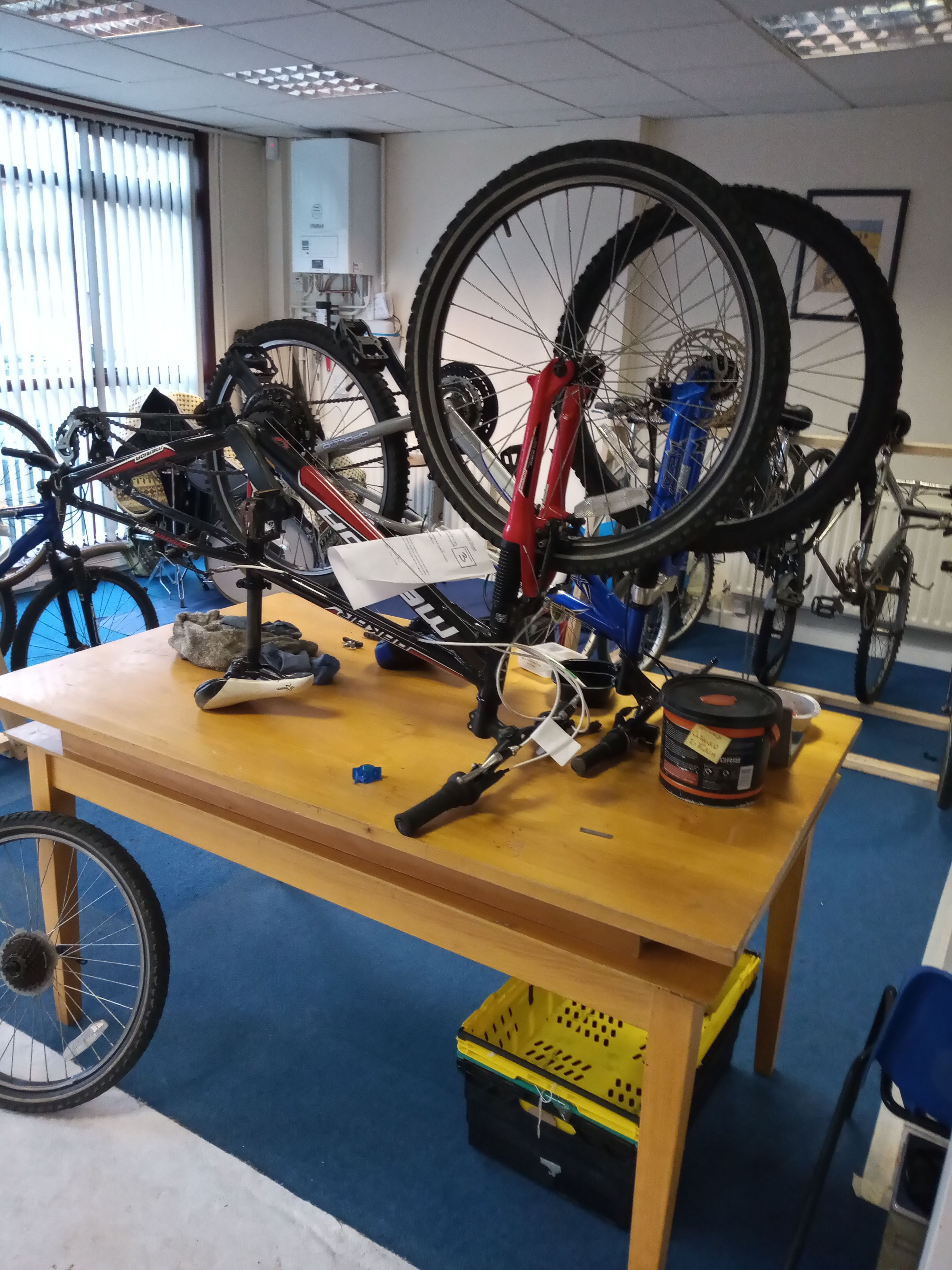 MOBILE WORKSHOP: Some of the bikes being reconditioned