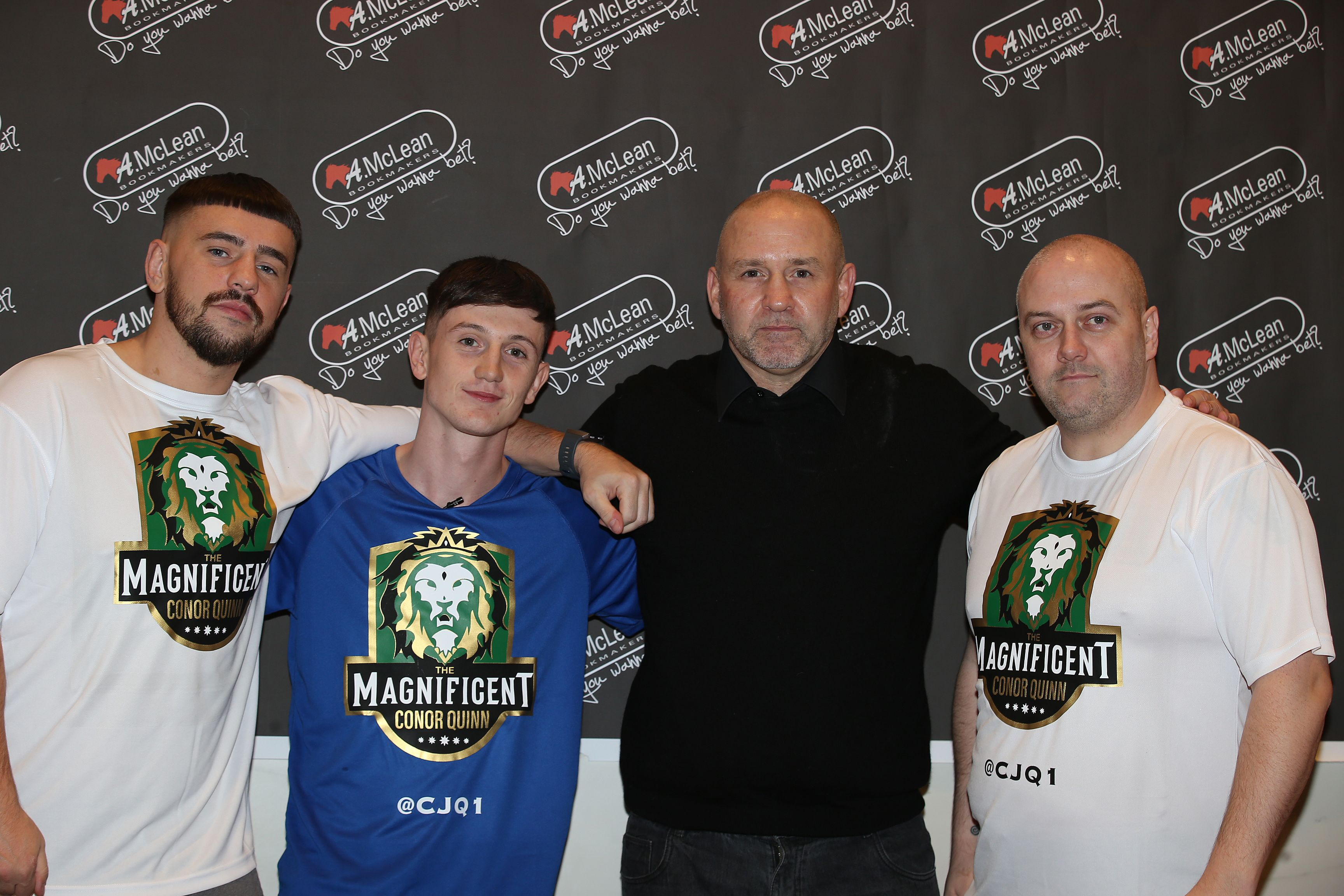 L-R: Trainer Dee Walsh, Conor Quinn, manager Mark Dunlop and Quinn\'s former amateur coach Peter Graham who will also train the ex-Clonard man