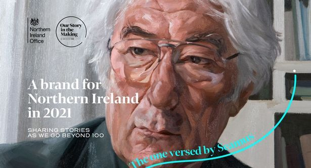 THE FACE OF PARTITION? Seamus Heaney appears on the NIO's new centenary events branding