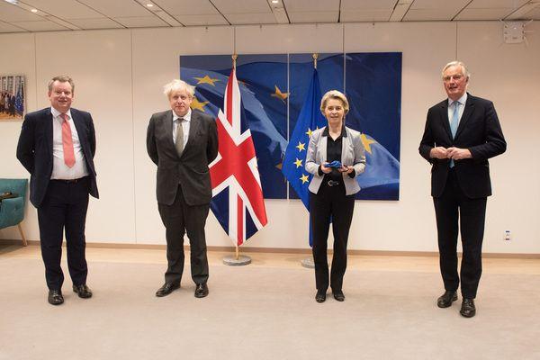 DOWN TO THE WIRE: David Frost, UK lead negotiator, British PM Boris Johnson, Europoean Commission President Ursula von der Leyen and Michel Barnier, EU lead in Brexit negotiations, in Brussels last week.