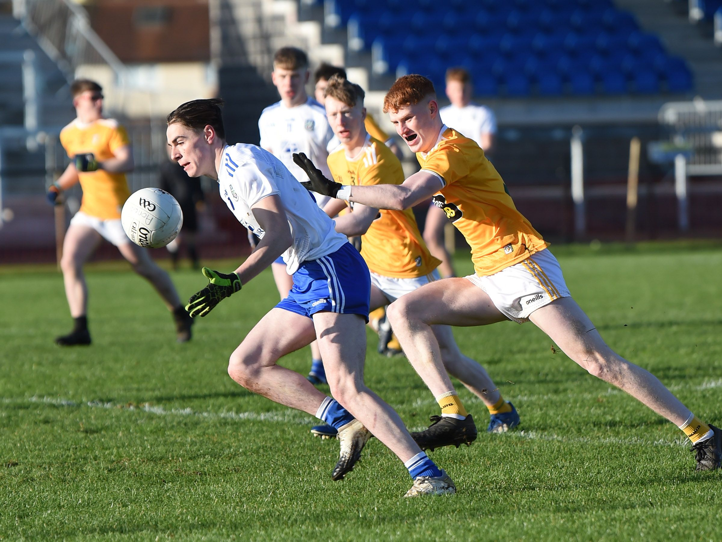 Monaghan\'s Ethan Graham goes on the attack at Corrigan Park on Sunday