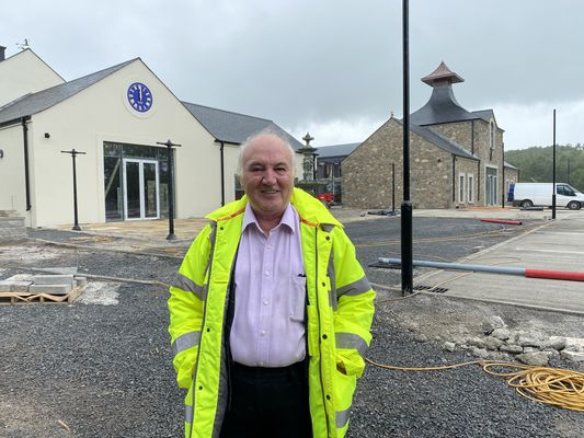 SLÁINTE: Terry Cross leads a guided tour of the Hinch Distillery, now just weeks away from its formal opening.