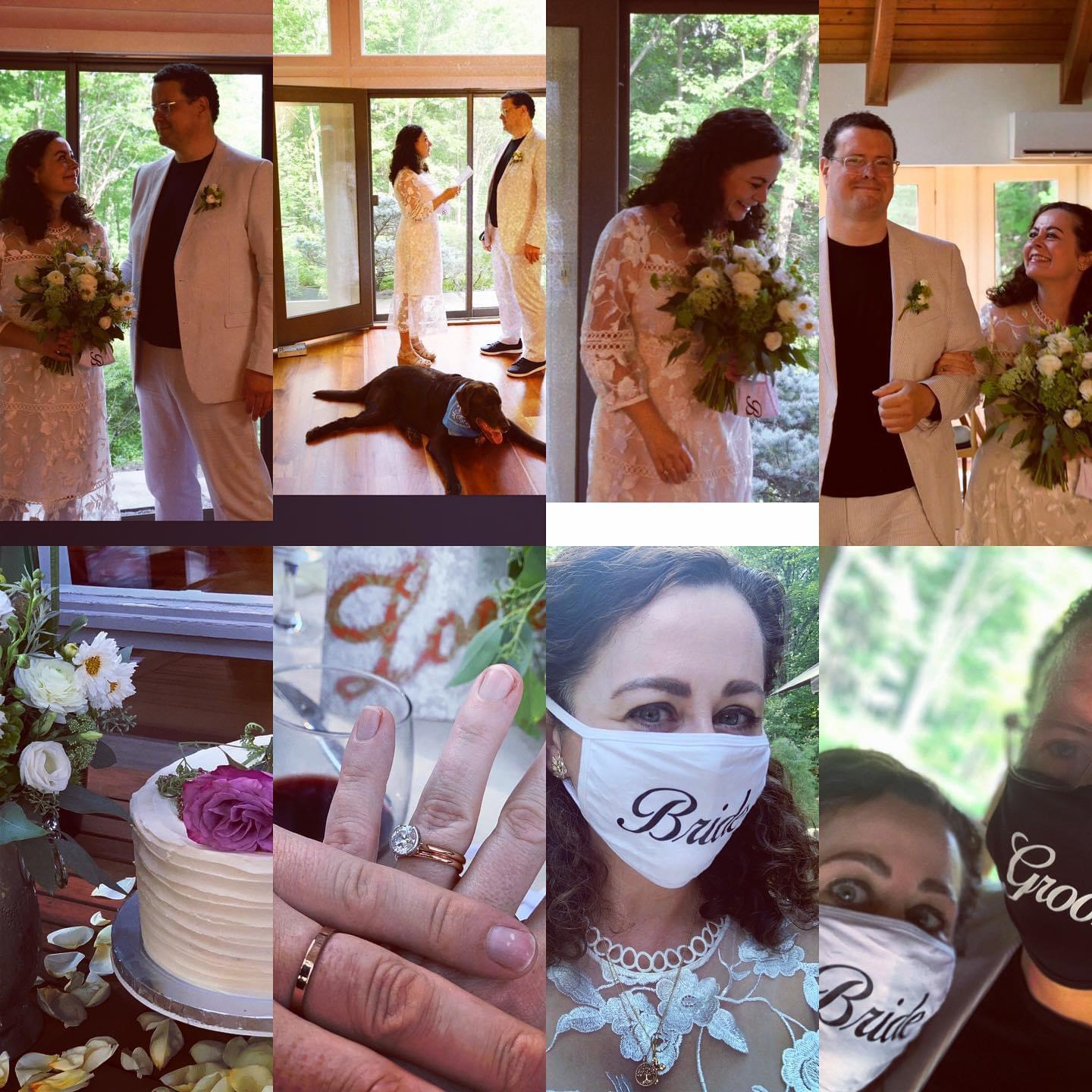 LOCKDOWN LOVERS: Geraldine Hughes and Conor Allen tie the knot at their upstate New York home, complete with face masks for the bride and groom.