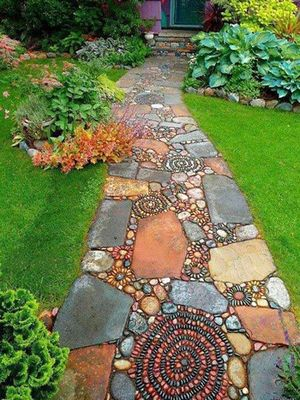 Cropped mosaic garden pathway