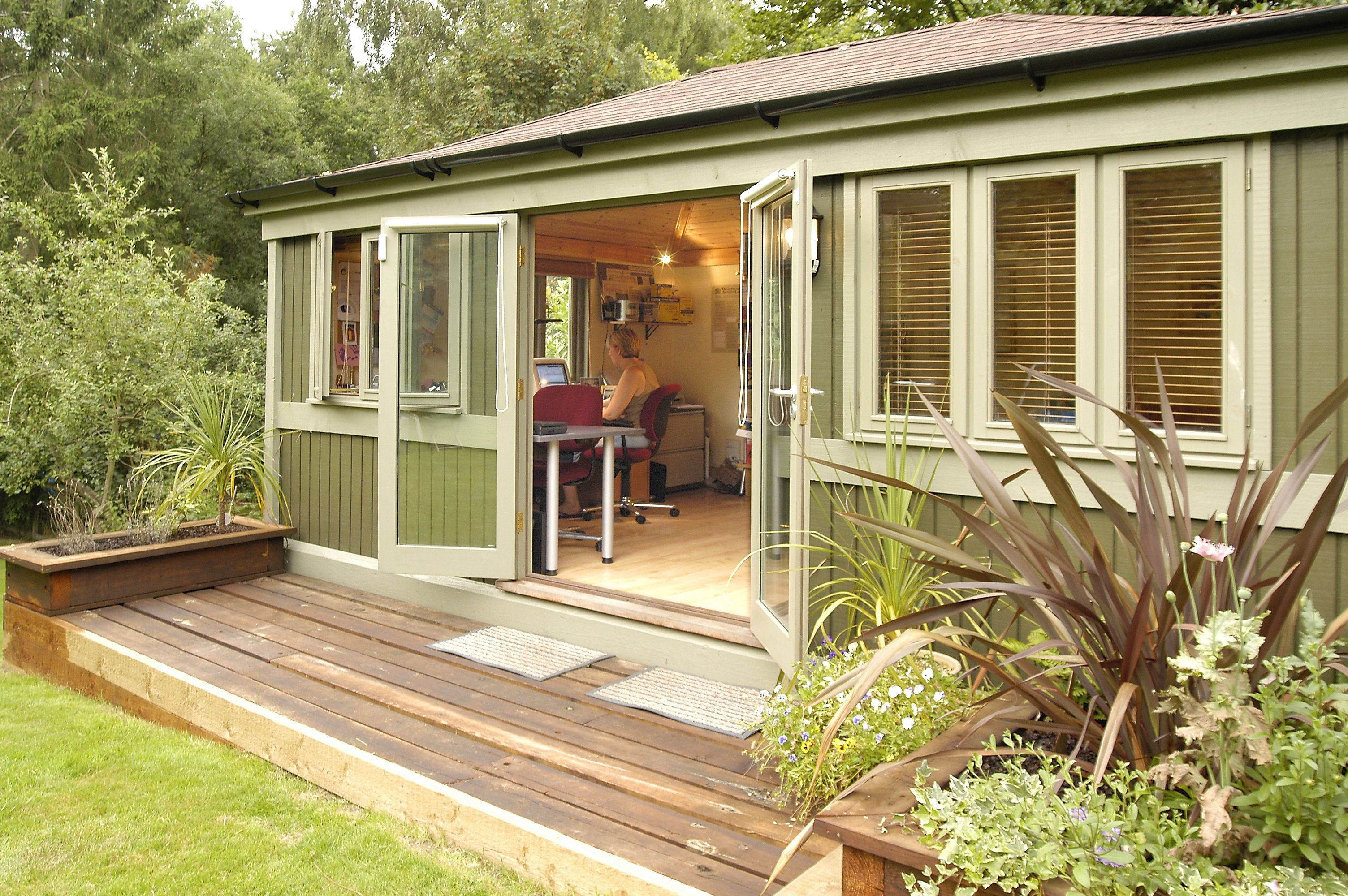 """GARDEN STUDY SOLUTION: """"These are basic prefab units but if you have the garden space, they solve the dilemma of working from home\"""""""