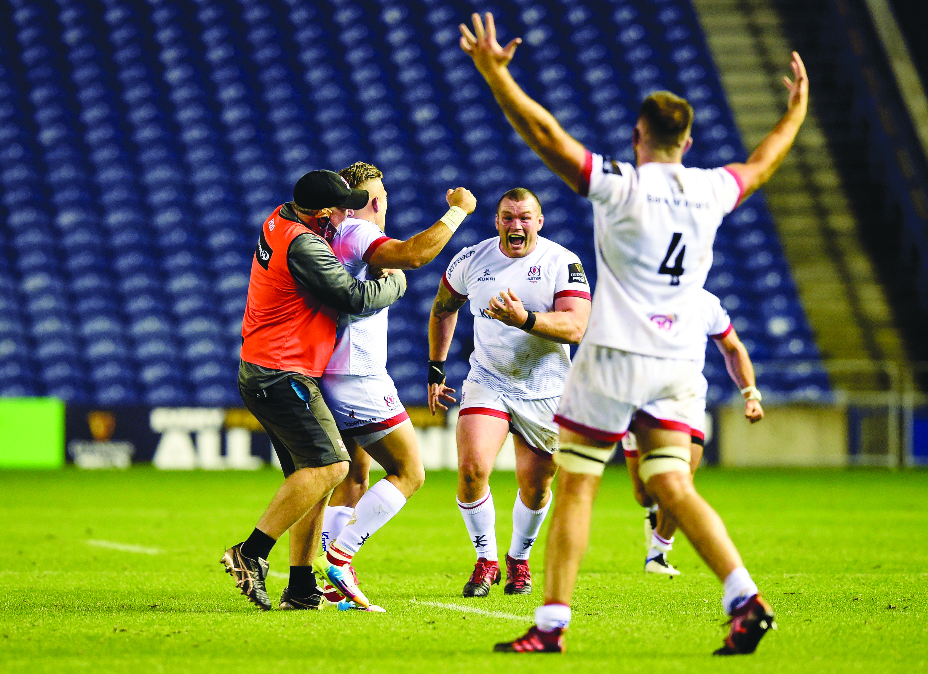 Alan O\'Connor and Jack McGrath celebrate with Ian Madigan after he converted the final kick of the game to win last week's semi-final in Edinburgh