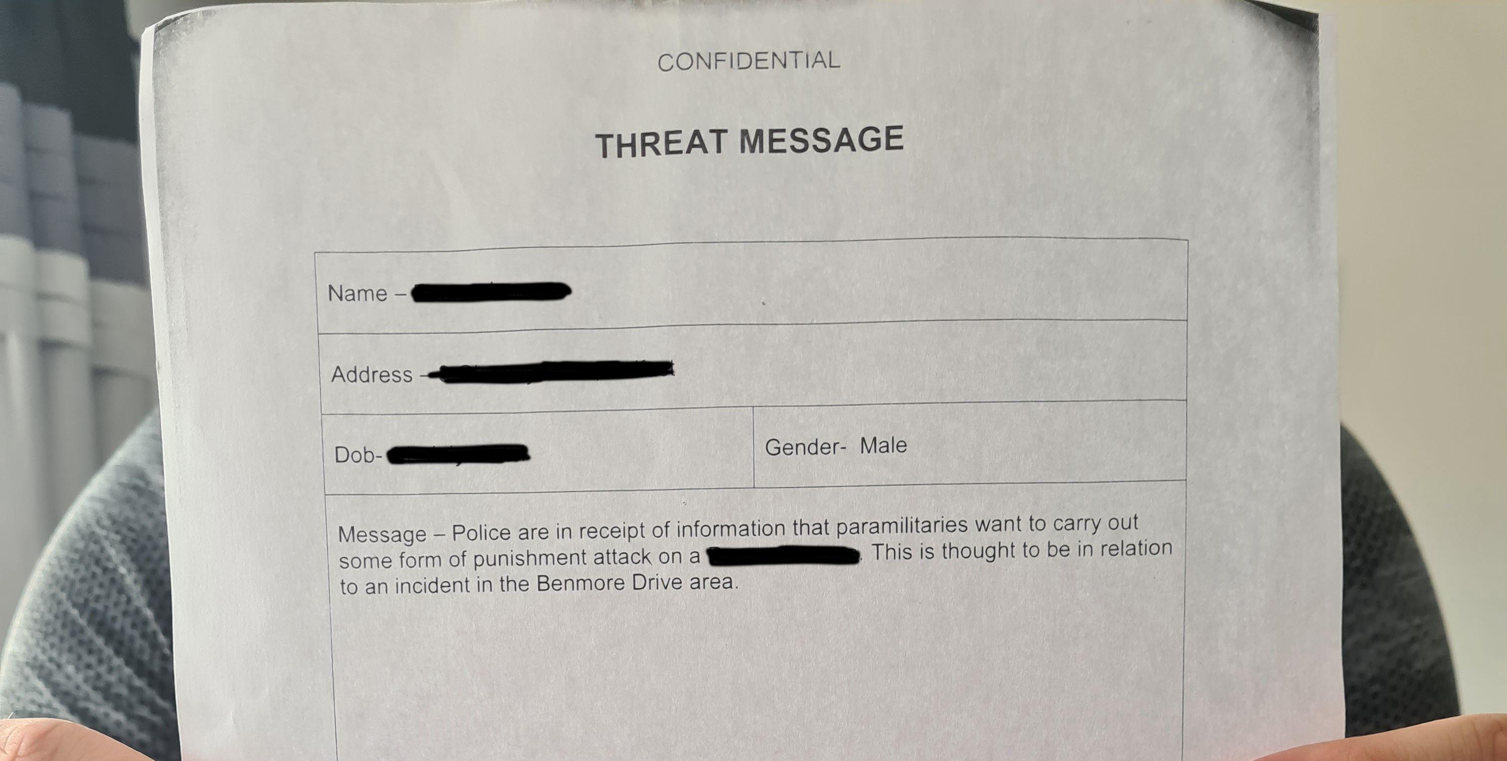 Threat letter
