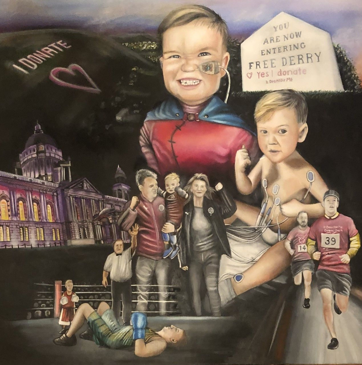 WEE FIGHTER:David Bell's painting of wee Dáithí which is being exhibited in the Cultúrlann;