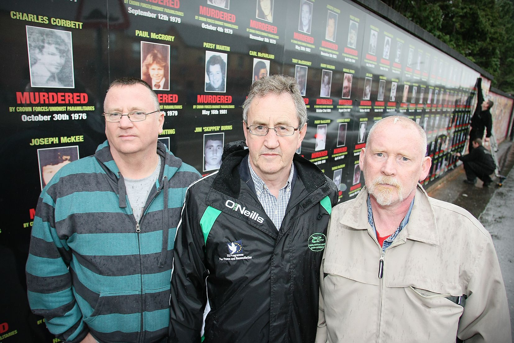FLASHBACK TO 2009: At unveiling of Collusion Wall in Beechmount Avenue were Sean Osbourne, Michael Culbert and the late Seando Moore.