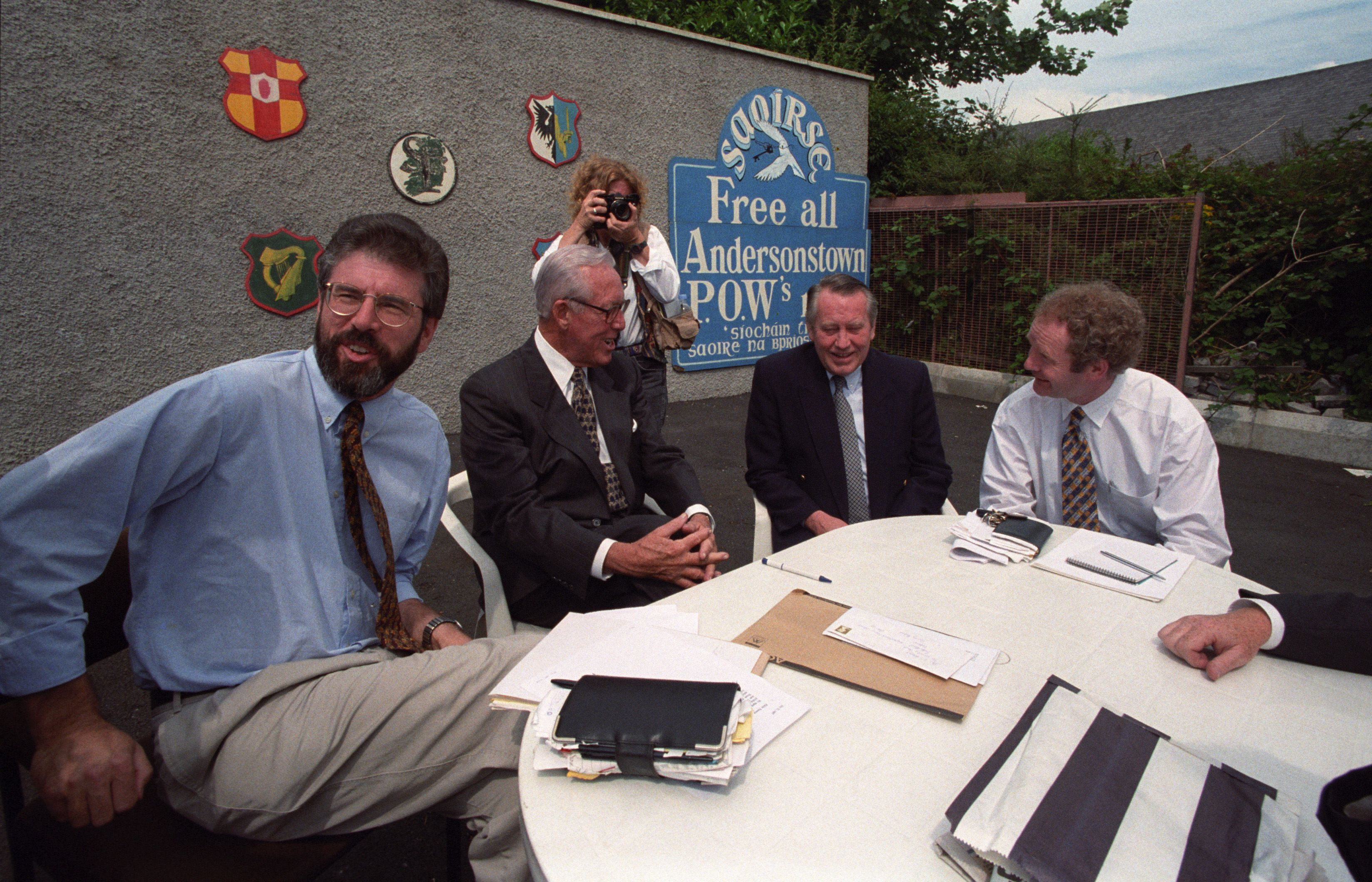 IT'S GOOD TO TALK: Gerry Adams, Bill Flynn, chairman of Mutual of America Insurance Company, Chuck Feeney and Martin Maguinness meeting Sinn Féin at Connolly House in July 1997 – the influential Americans were in Belfast in a bid to secure a restoration o