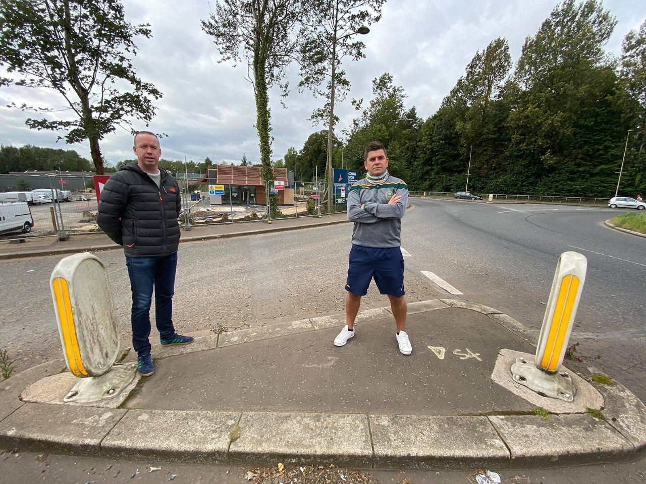 CONCERN: Sinn Féin Councillors Danny Baker and Gary McCleave at the section of road in question