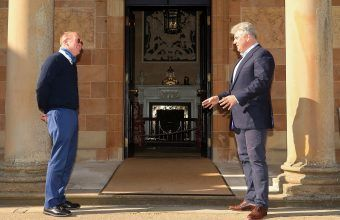 SOCIALLY DISTANCED WELCOME: British Secretary of State Brandon Lewis (right) welcomes Special Envoy Mick Mulvaney to Hillsborough Castle