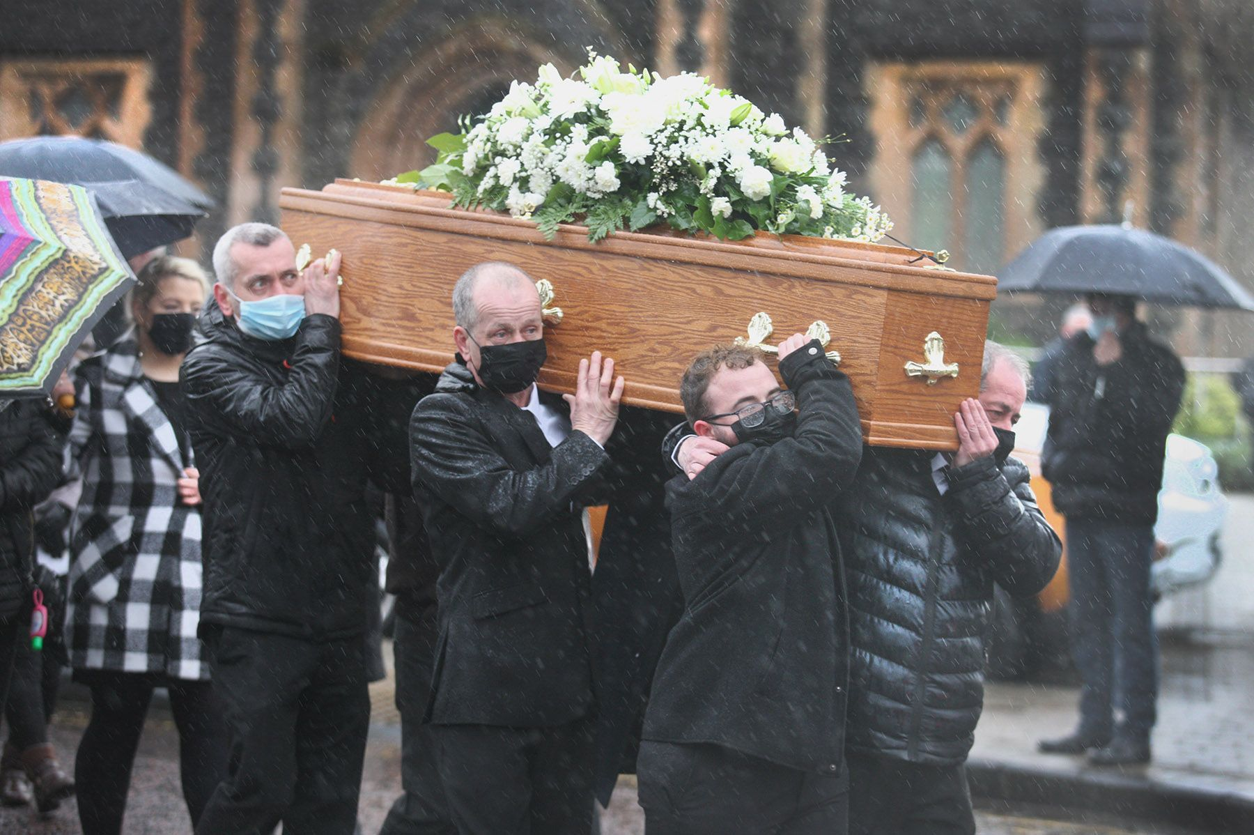 FINAL JOURNEY: The funeral of Lucy McIlhatton was held at St Teresa\'s Church on the Glen Road this morning