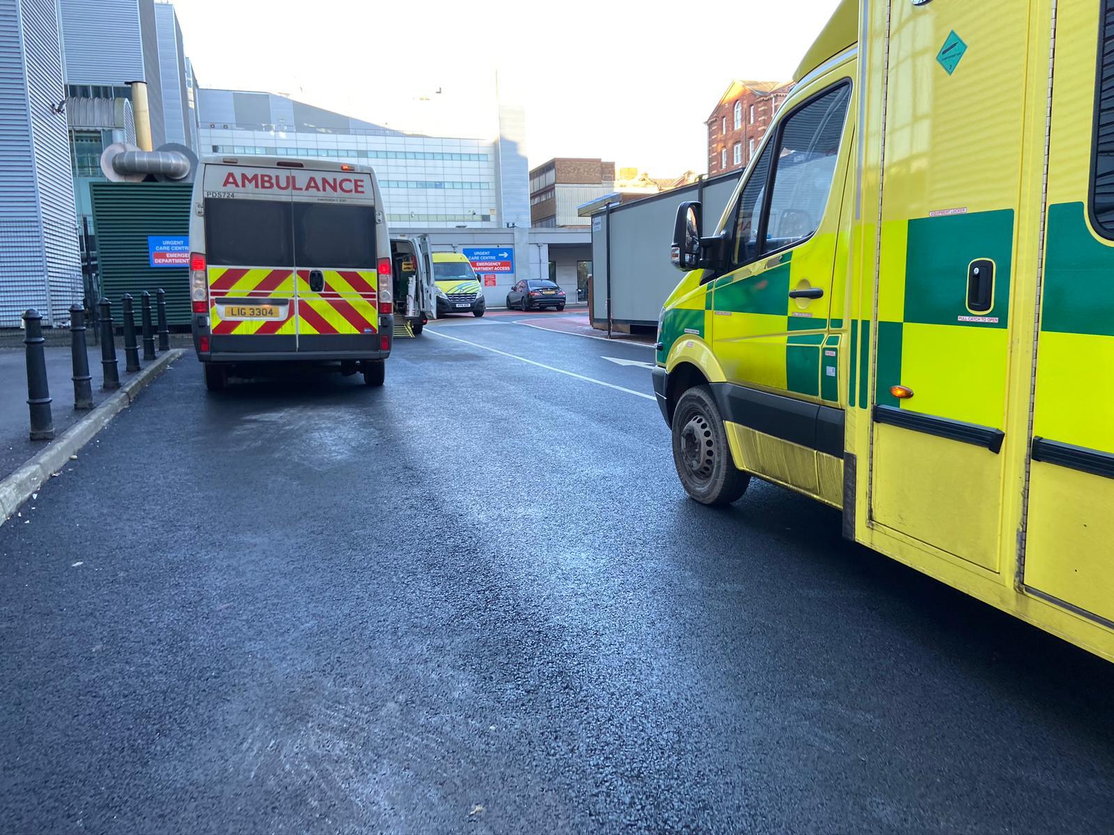 UNPRECEDENTED PRESSURE: Ambulances queued up at RVH last week
