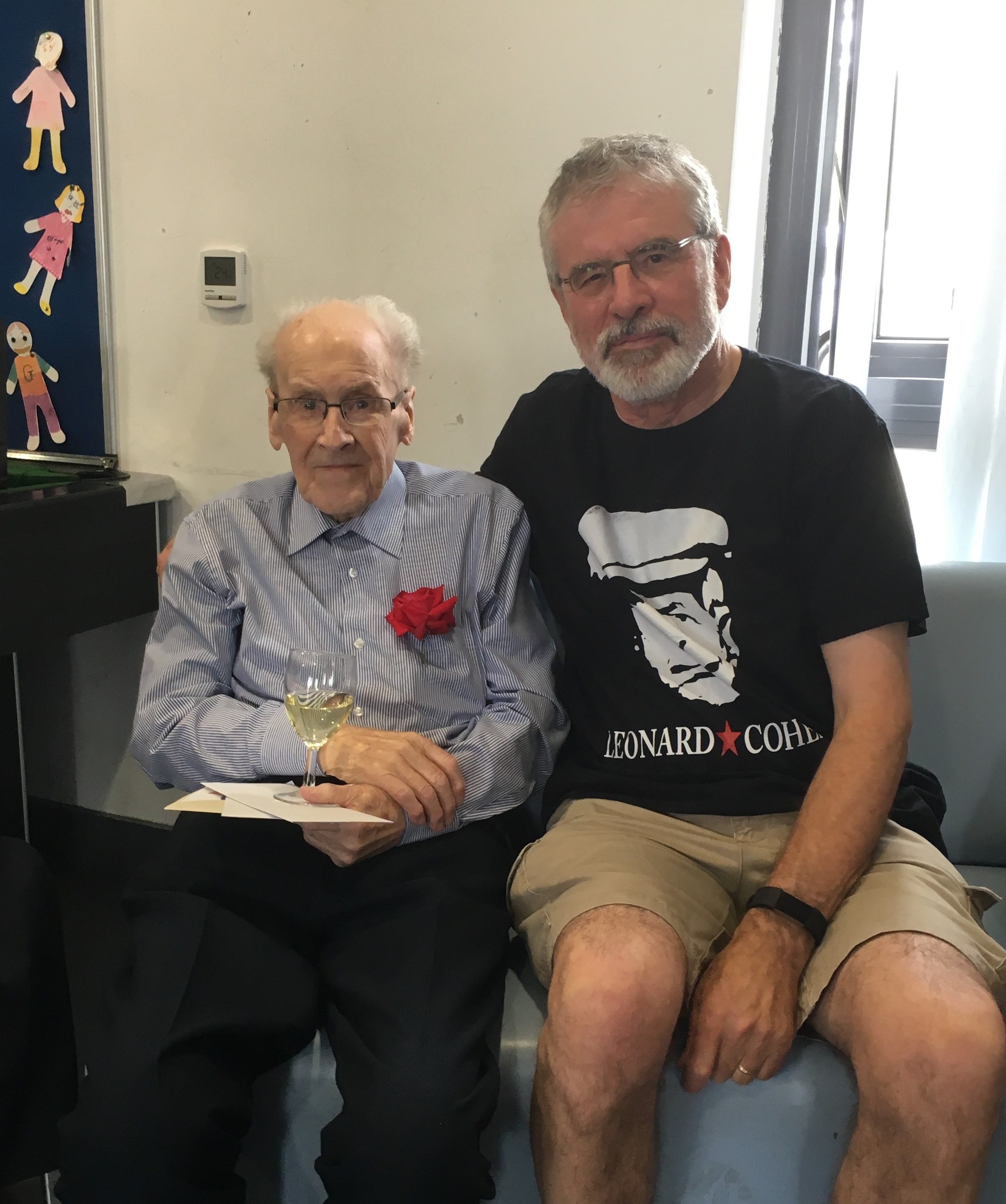 TRIBUTE: Fr Des Wilson with Gerry Adams on his 93rd birthday