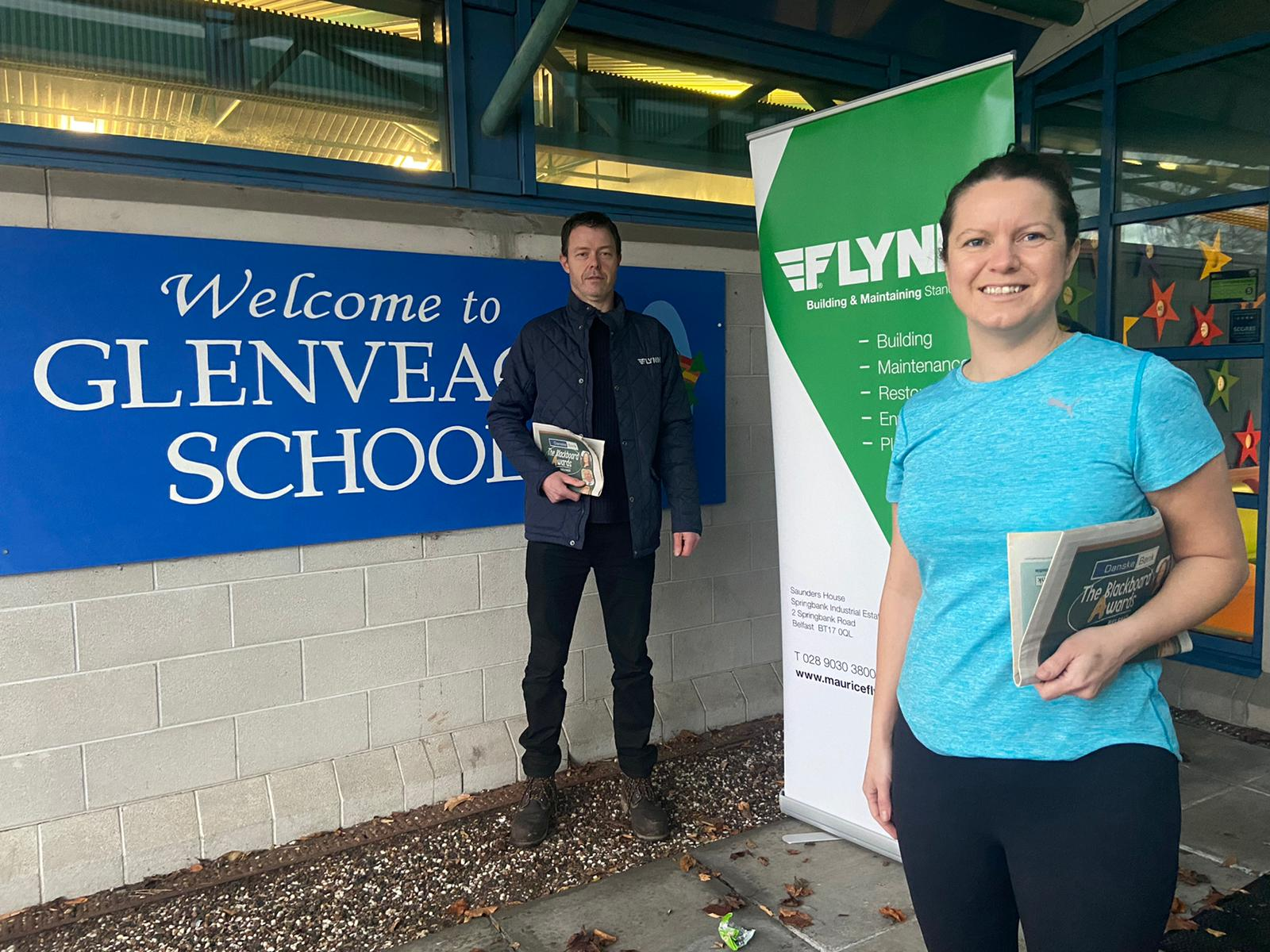 TOGETHER: Karen Kelly, teacher Glenveagh School, and Declan Flanagan from Flynn Construction