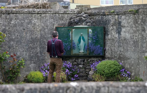 FAILURE: Tuam mother and baby home infant deaths. Author John Pascal Rodgers pictured at a grotto in the grounds where the unmarked mass grave containing the remains of nearly 800 infants who died at the Bon Secours mother-and-baby home in Tuam.