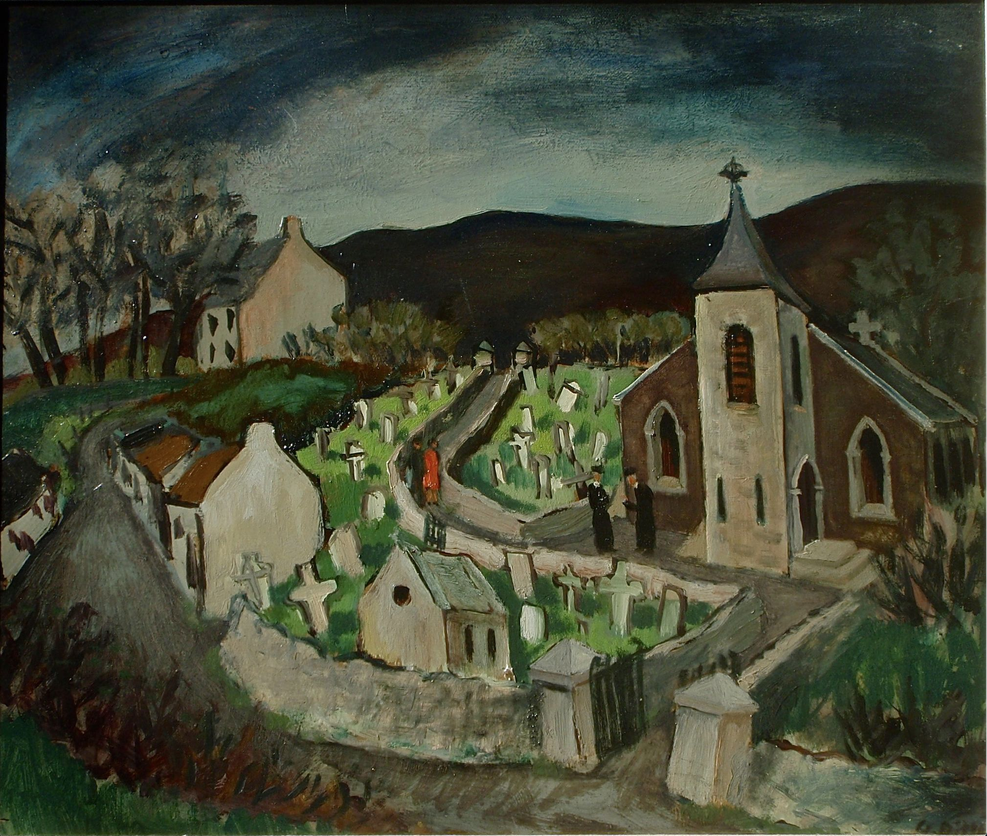 SOMETIMES ART\'S VALUE CAN\'T BE MEASURED BY CONSULTANTS: Hannahstown chapel and cemetery by West Belfast artist Gerard Dillon.