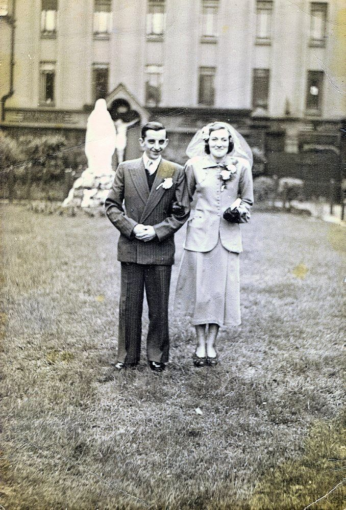 AN ENDURING STORY:Frank and Teresa on their wedding day; below, the Claddagh ring that Frank made his wife while he was in prison