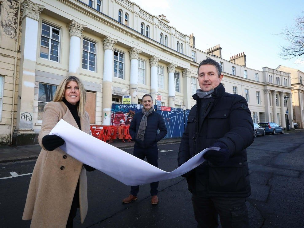 AMBITIOUS PLANS: Andrea Kieran, Finance Director of Aurient Ltd, with Directors Cecil Hetherington and Anthony Kieran at the historic building in Upper Crescent