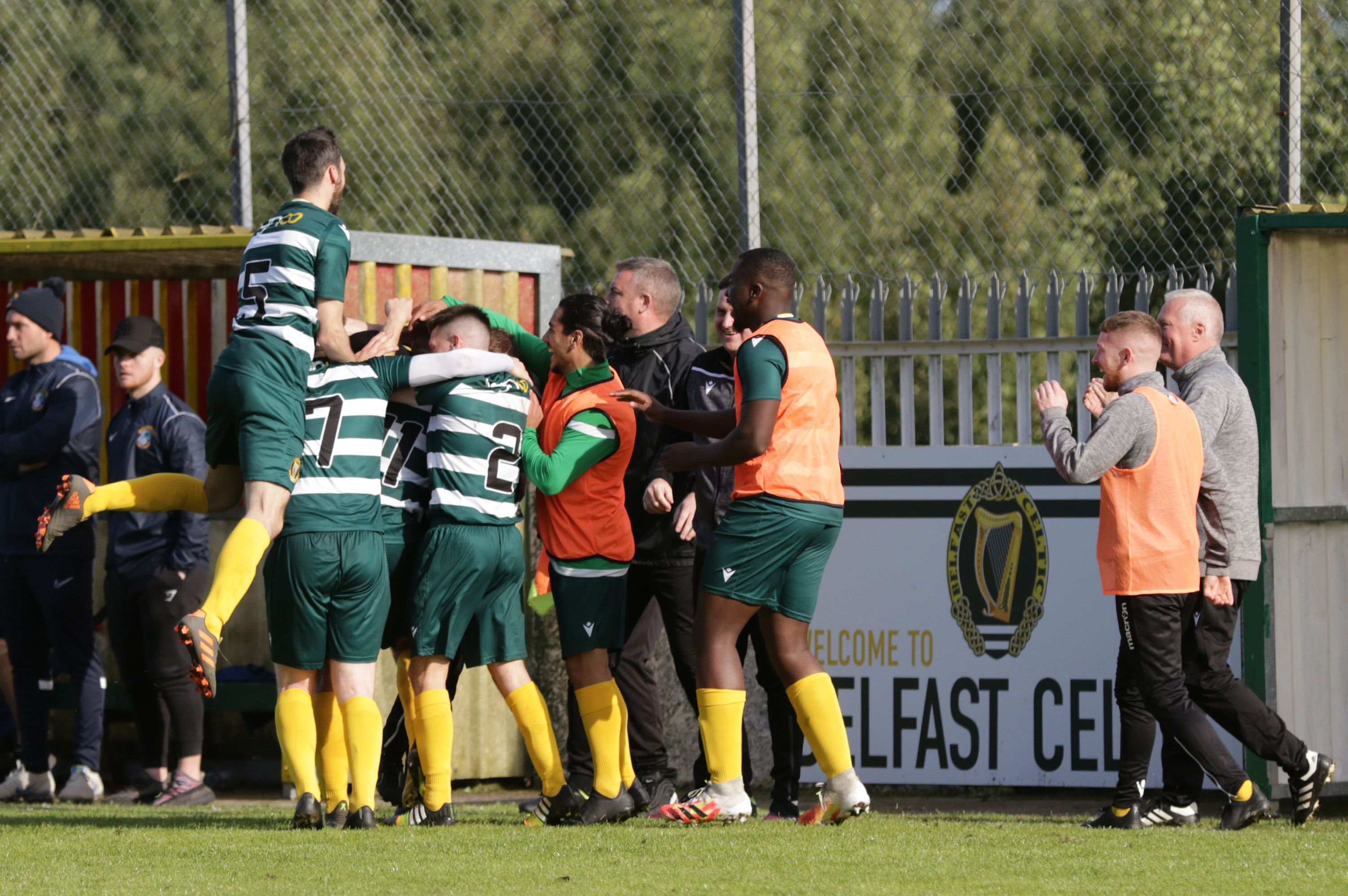 Belfast Celtic celebrate after Padraig McParland\'s hat-trick helped them seal a 5-3 win over Immaculata at Glen Road Heights on Saturday