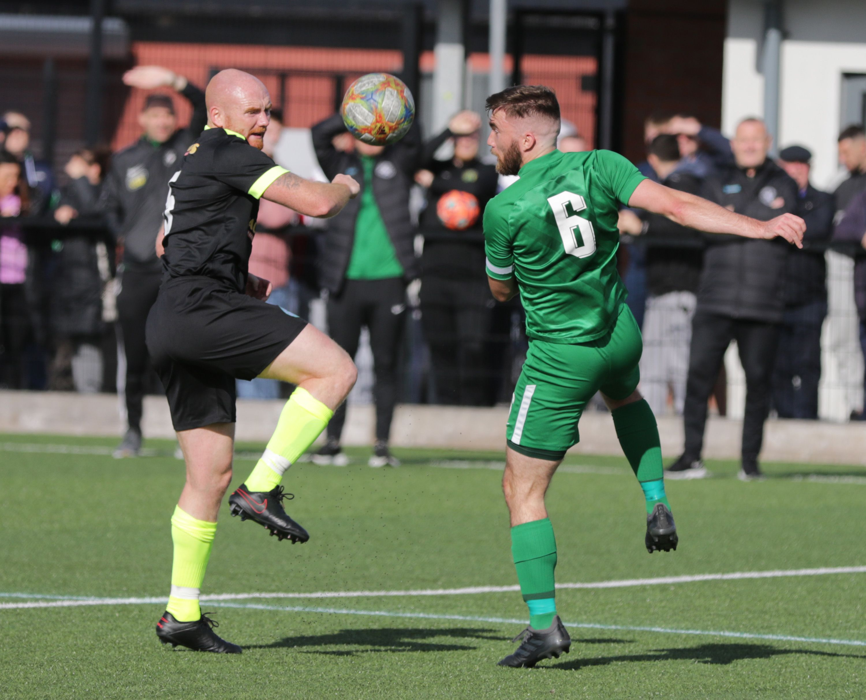Eyes on the ball as Crumlin Star\'s Joe McNeill comes up against Newington\'s Richard Gowdy during Saturday\'s Steel and Sons Cup clash at The Cricky