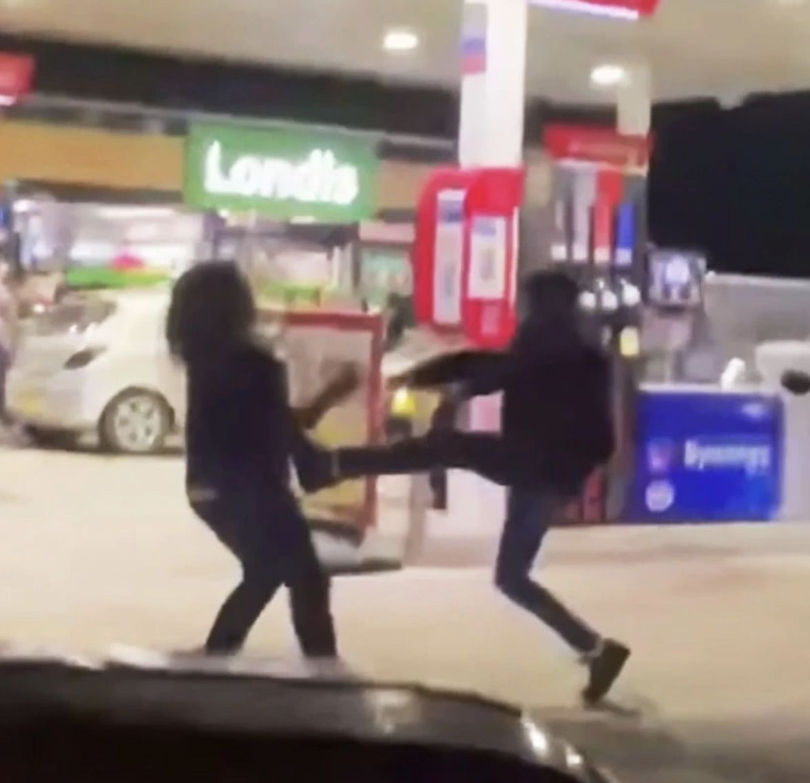 FUEL'S ERRAND: Violence erupts on a  GB petrol station forecourt as Brexit petrol shortages take hold