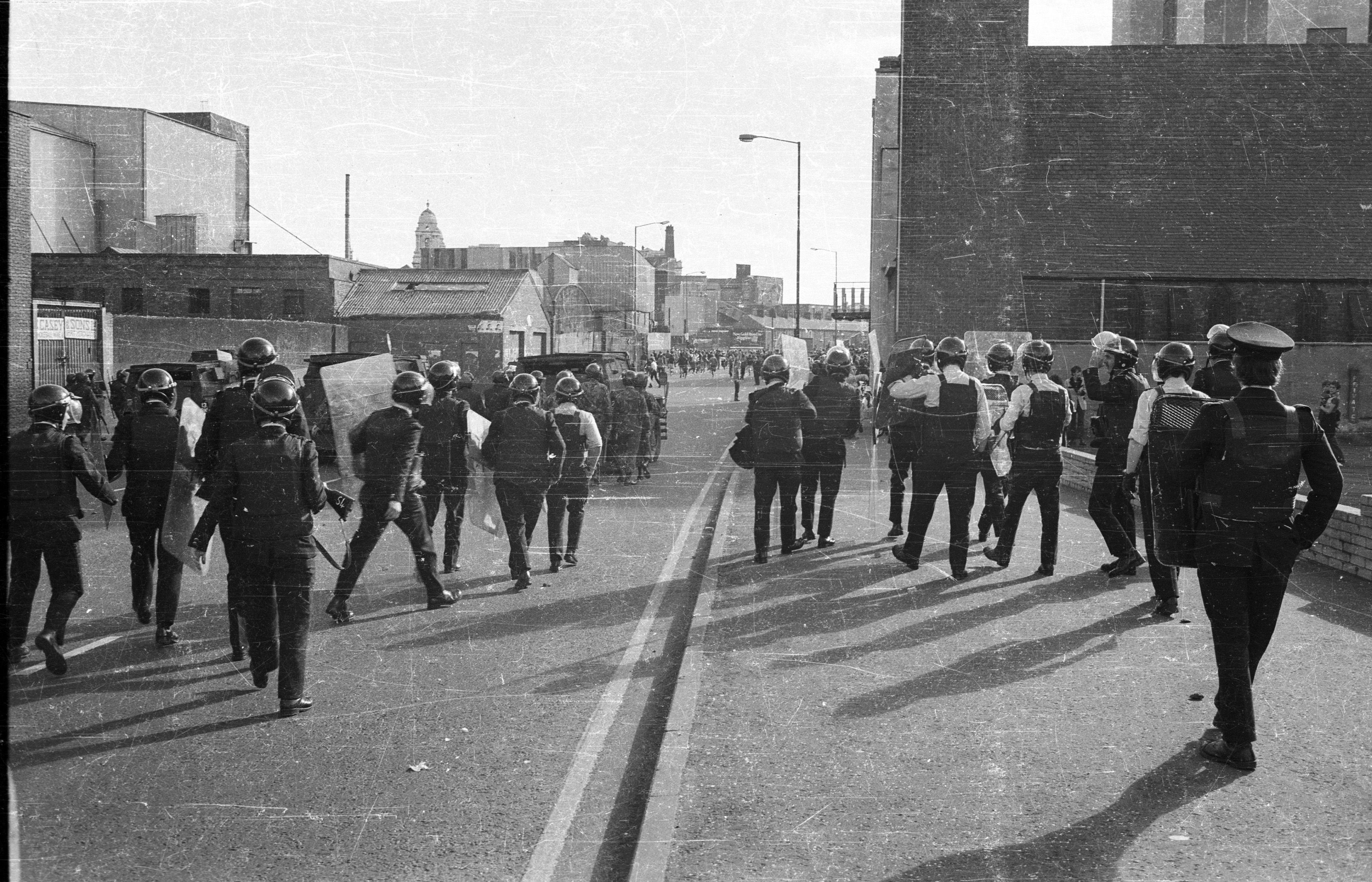 NO WAY THROUGH:The RUC charge a 'Victory to the Blanket Men' H-Block march