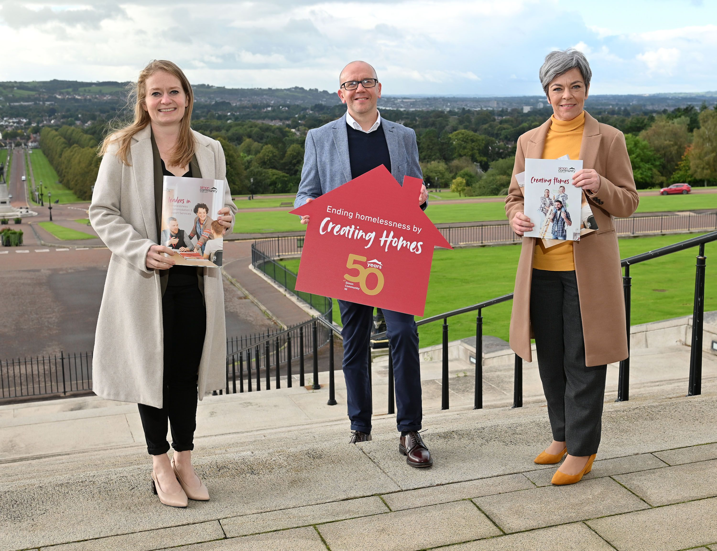 CREATING HOMES: Simon Community Chief Executive Jim Dennison (centre) with South Belfast MLA Clare Bailey and party colleague Rachel Woods MLA