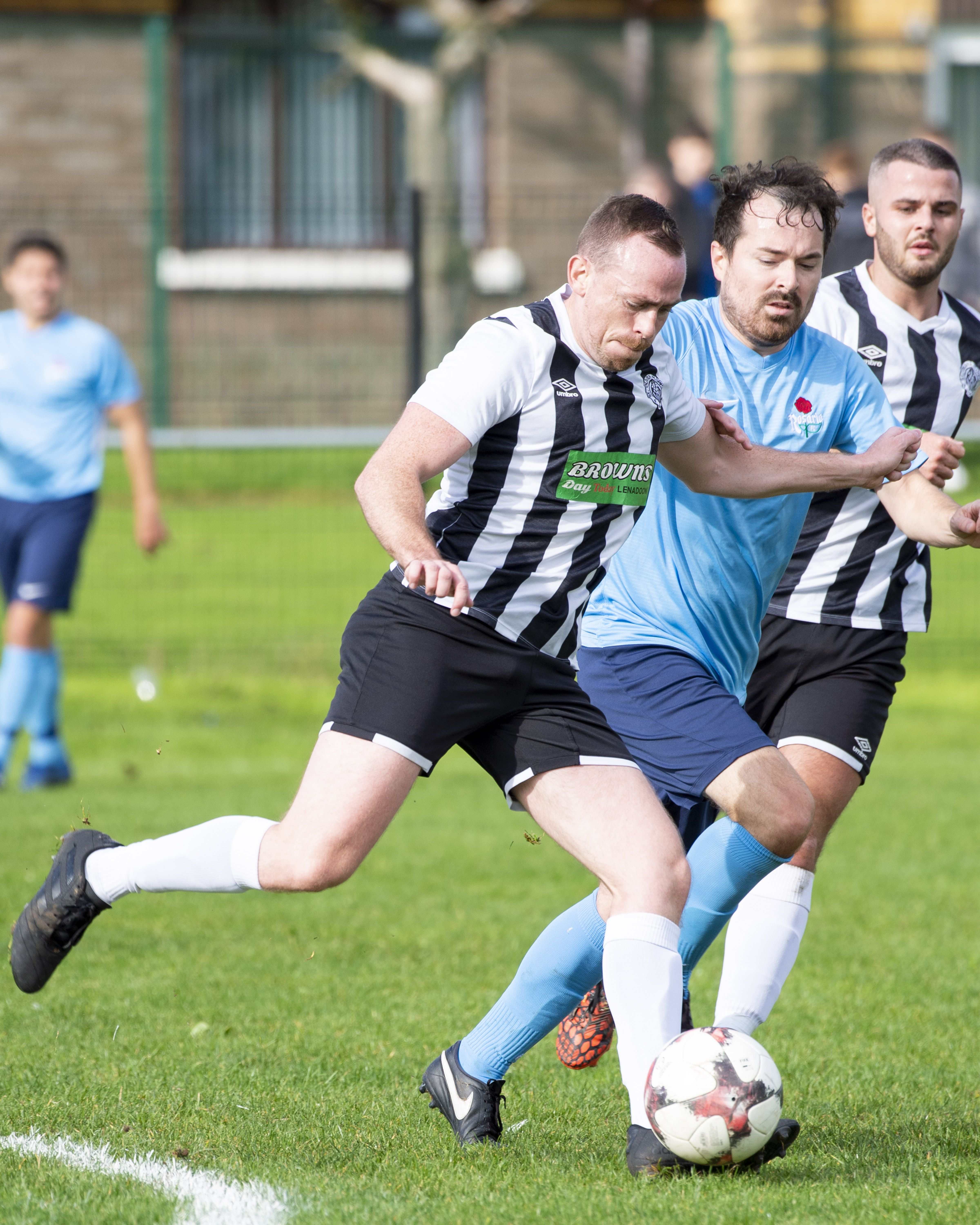 Action from Saturday\'s game between St Oliver Plunkett FC and Rosario
